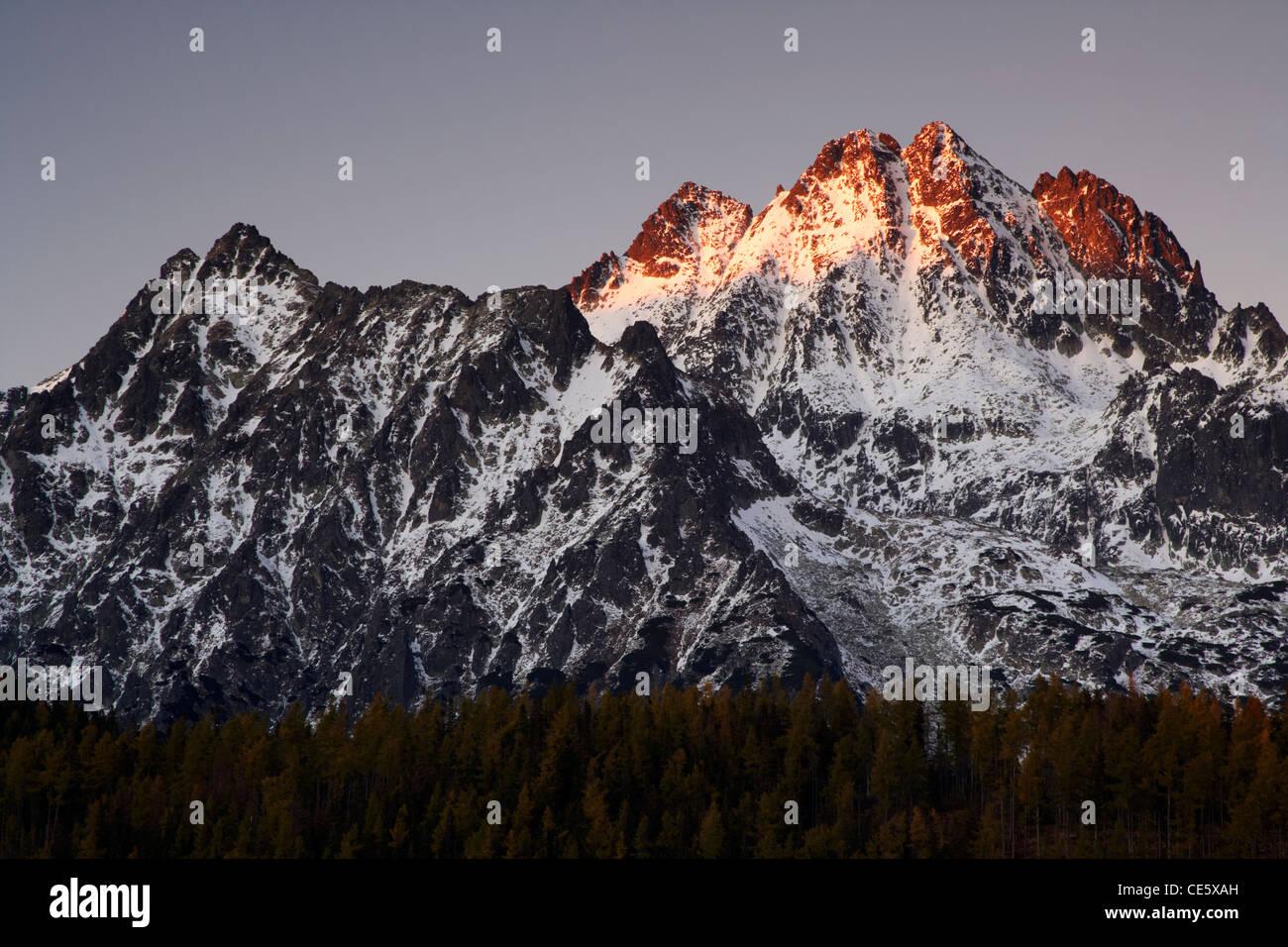 Last light on the Tatra mountain peaks - Stock Image