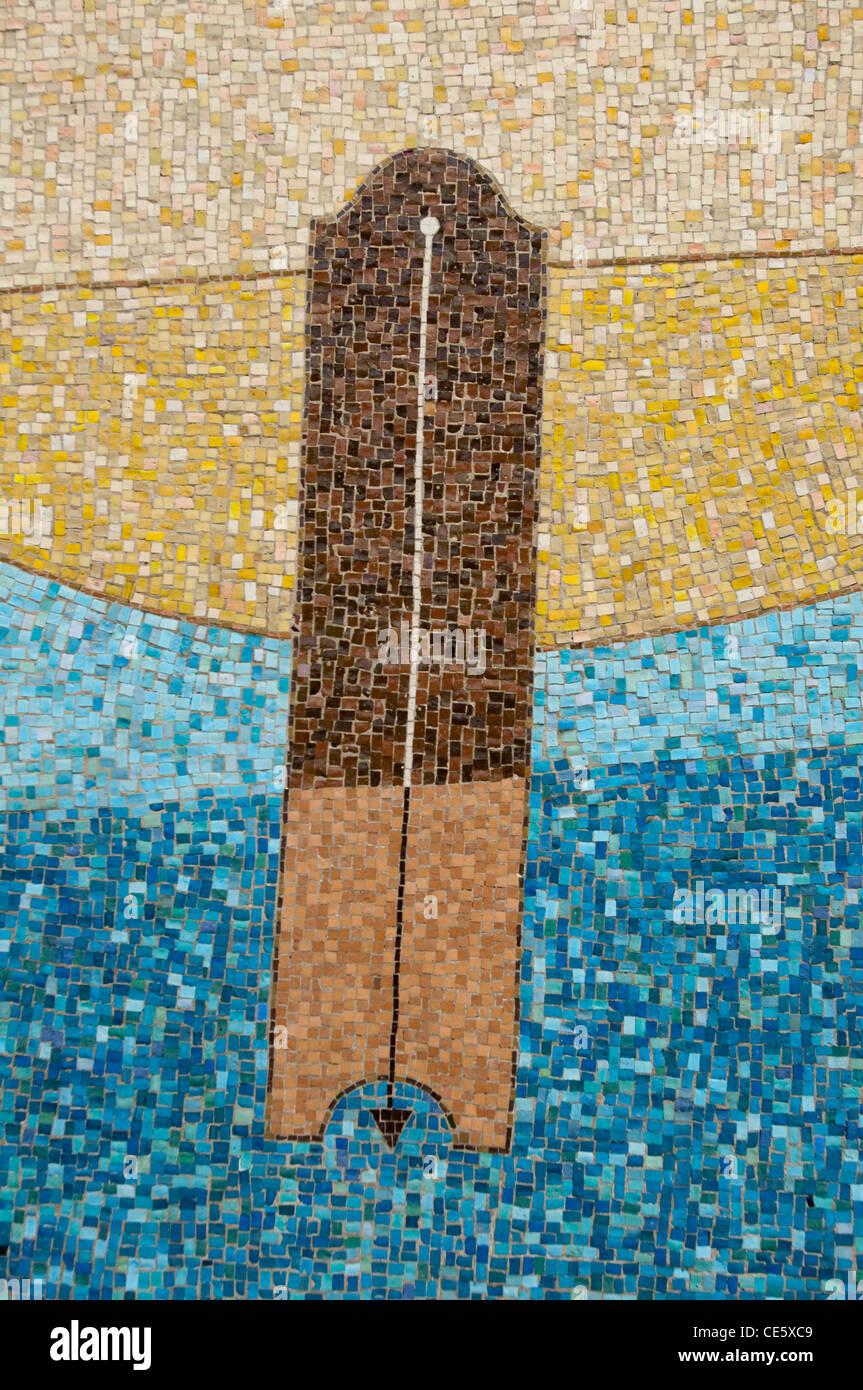Plumbline or plumb Freemason symbol mosaic on the wall of Grand Lodge of Massacheusetts, Boston, United States, - Stock Image