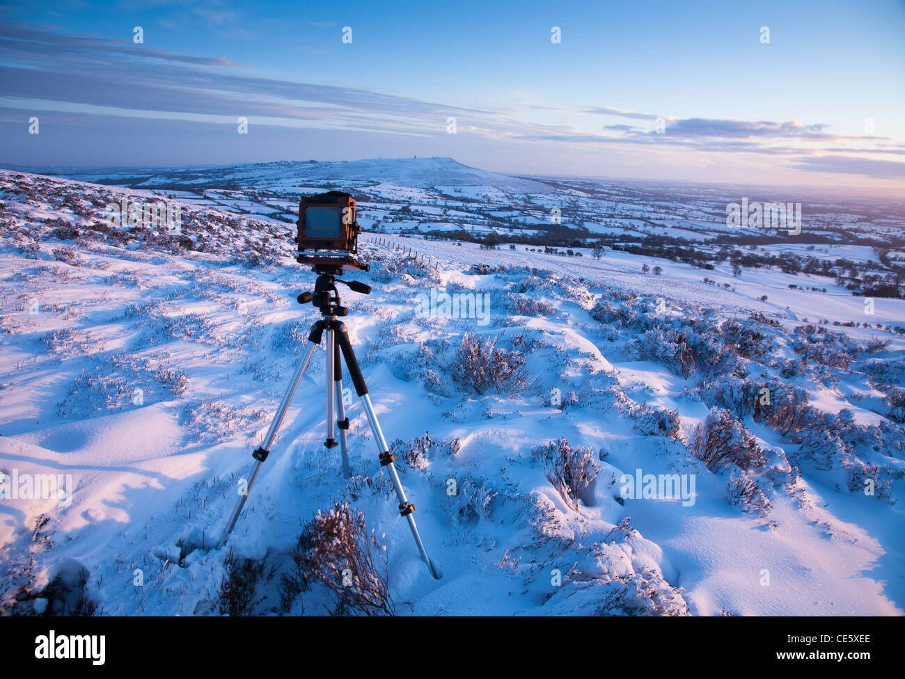 Large Format camera, Snow - Stock Image