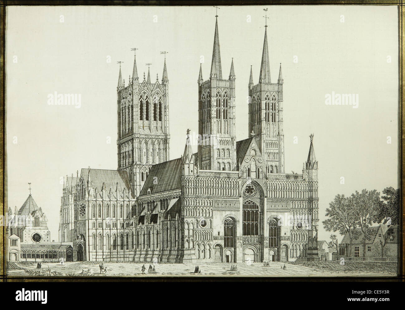 Needlework picture of Lincoln Cathedral, St Martin, Owston Ferry, Lincolnshire - Stock Image