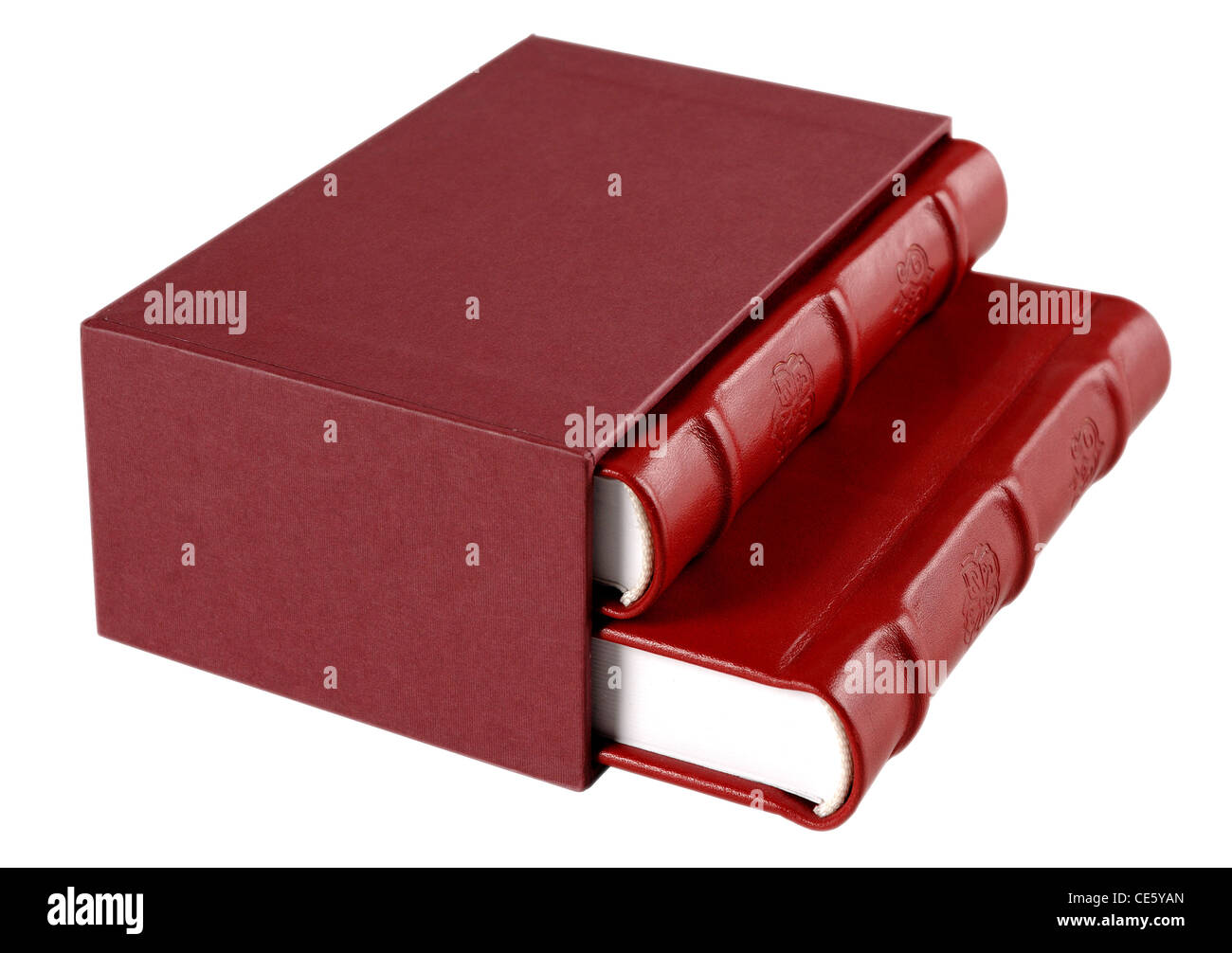 Red decorated leather diaries isolated on white - Stock Image