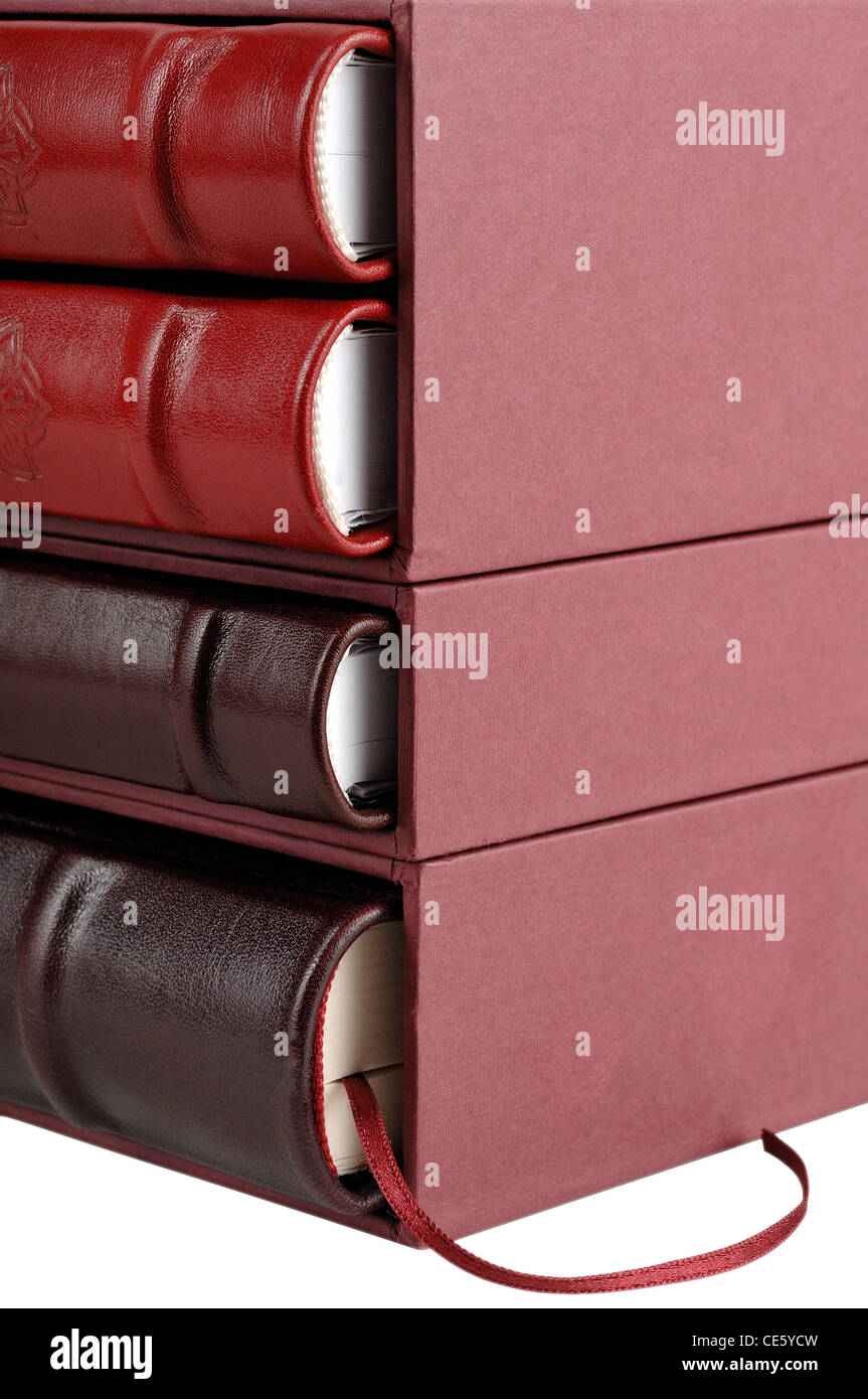 Stack of red and brown leather diaries in hard cover boxes, isolated on white - Stock Image