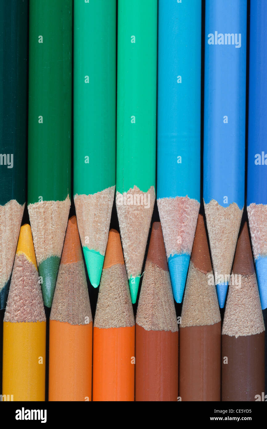 Colored Pencils - earth tones - blues, greens; browns - Stock Image