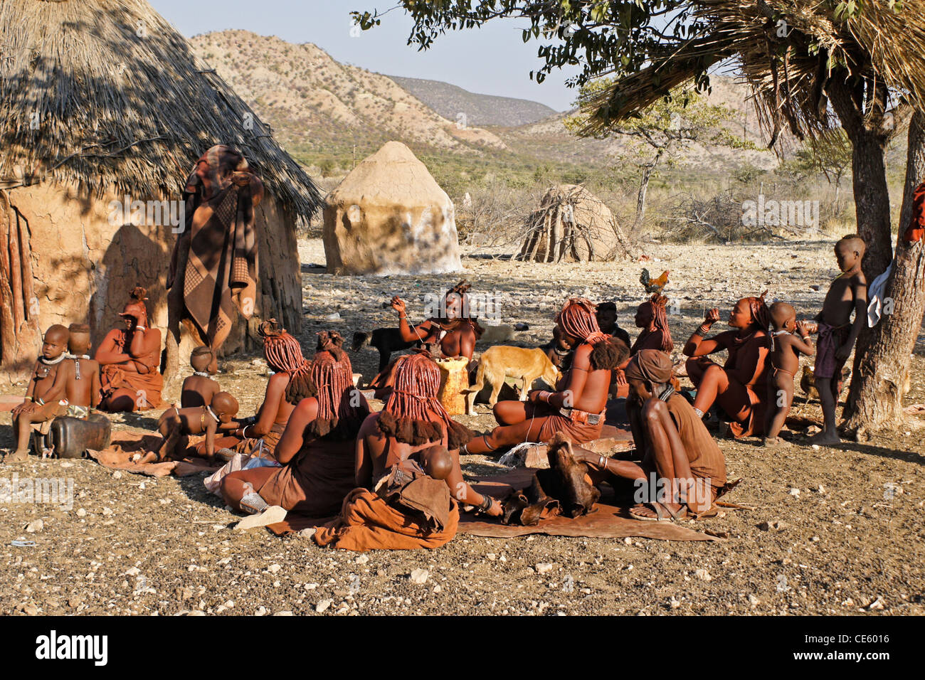 Himba People In Their Village Near Opuwo Namibia Stock