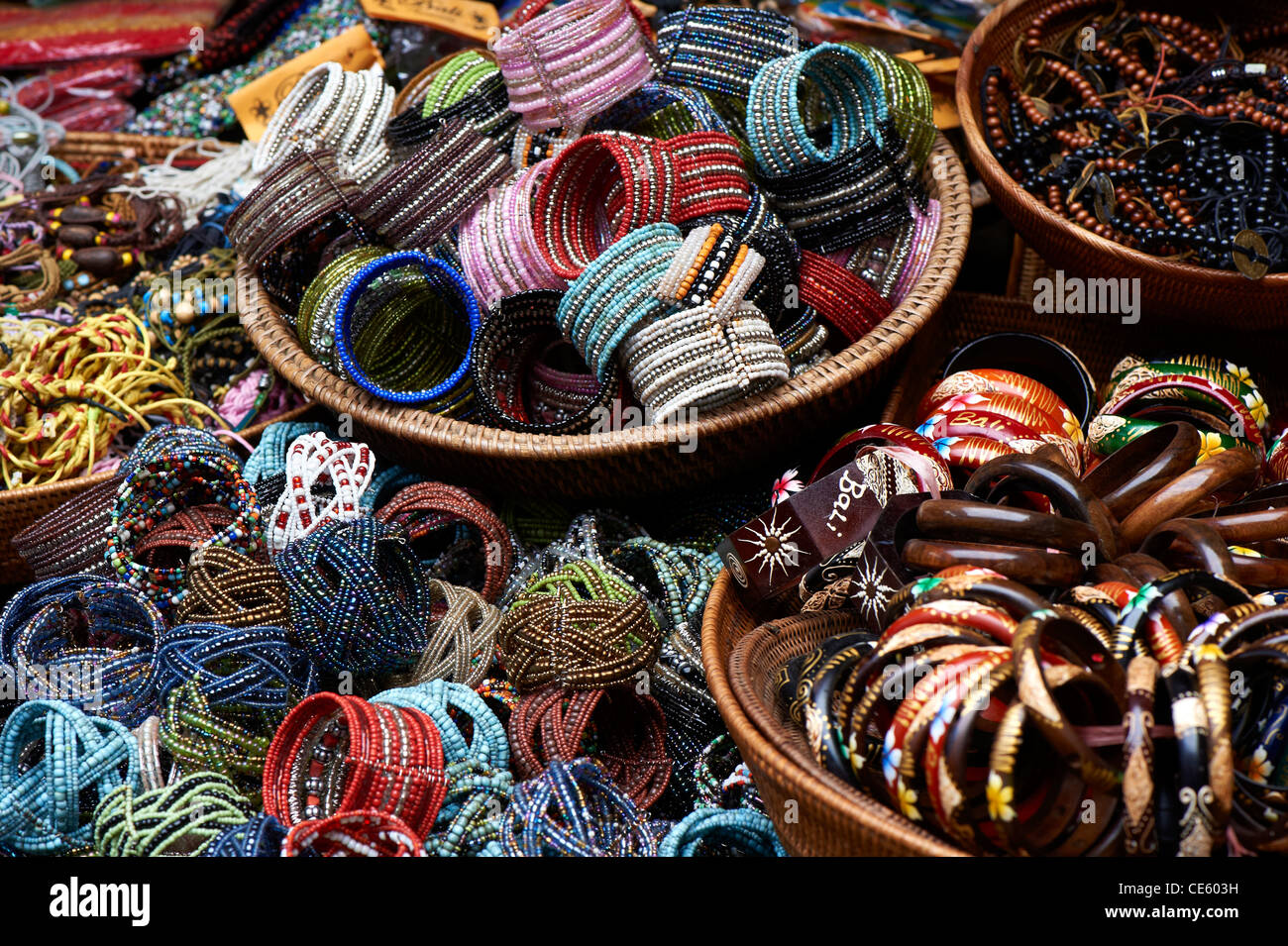 Bangles at Ubud Markets, Bali Indonesia - Stock Image
