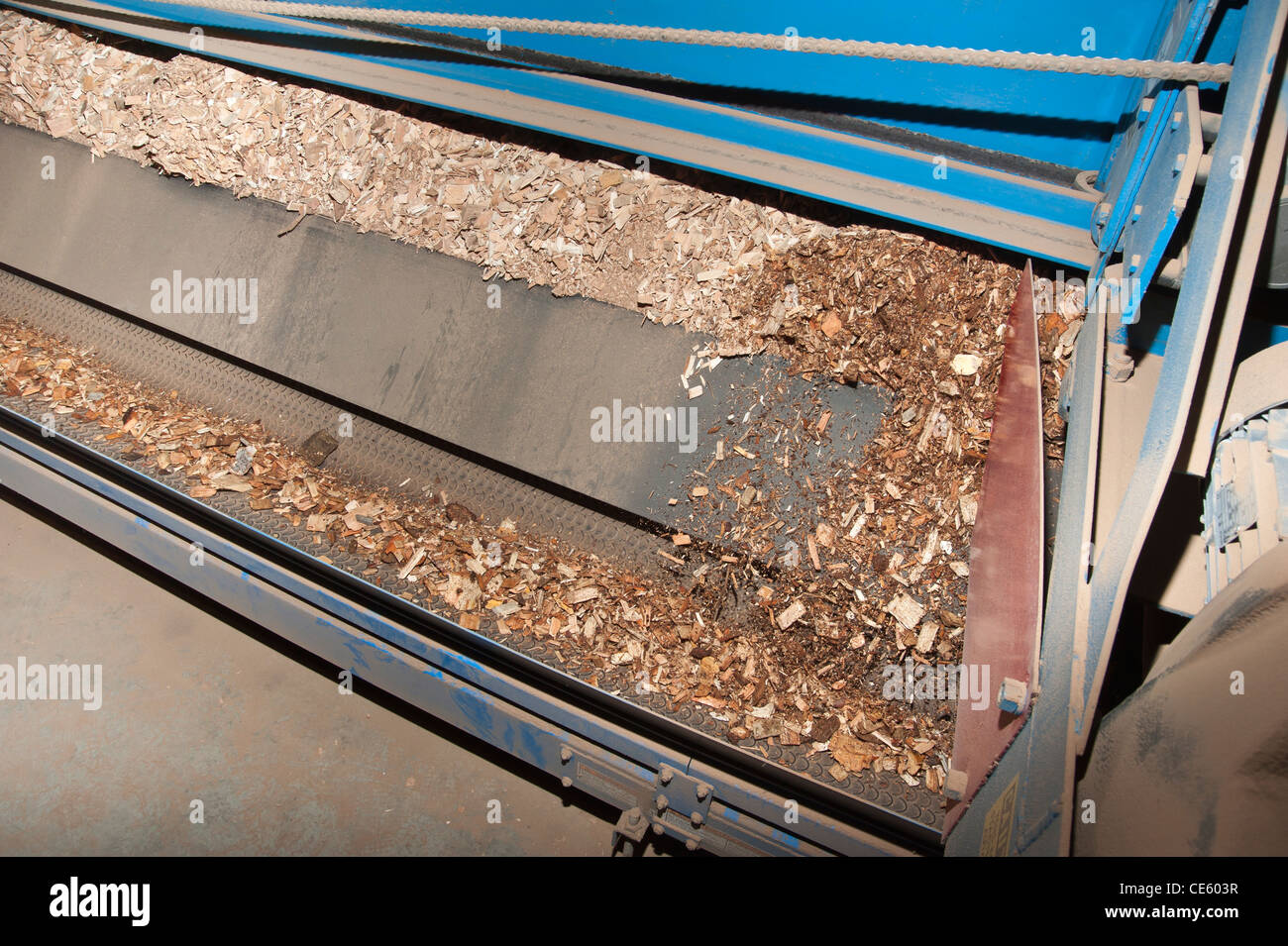 Automated chip collector used in a Biomass boiler in Darby, Montana. - Stock Image