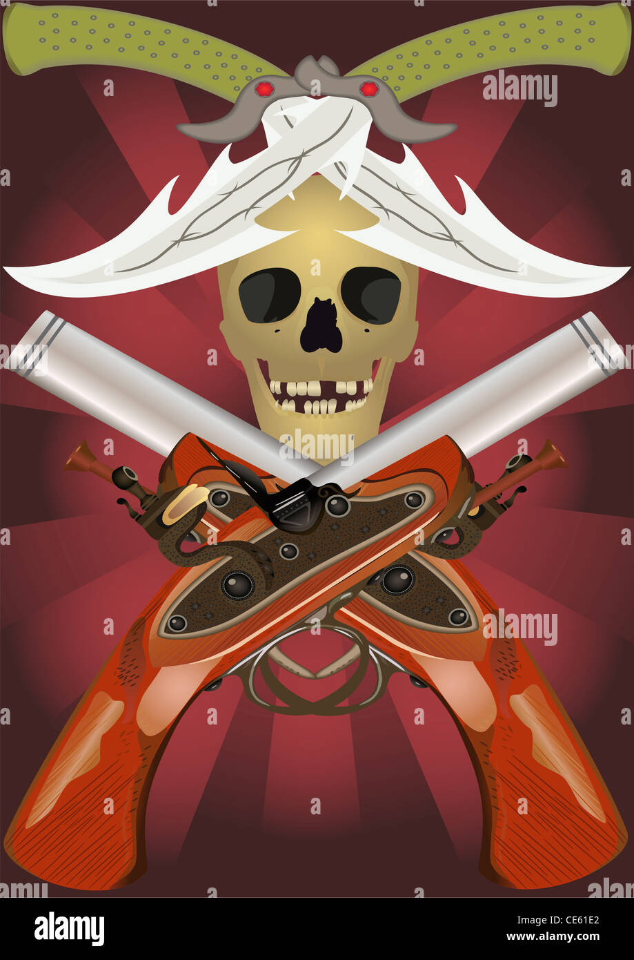 Skull pistols stock photos skull pistols stock images alamy skull with the crossed pistols and knifes stock image voltagebd Gallery