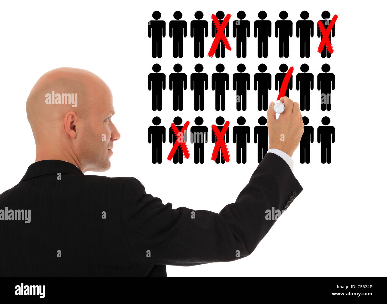 Businessman cutting back jobs. All on white background. - Stock Image