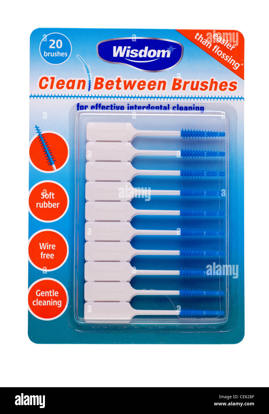 Pack of 20 interdental tooth brushes from Wisdom - Stock Image