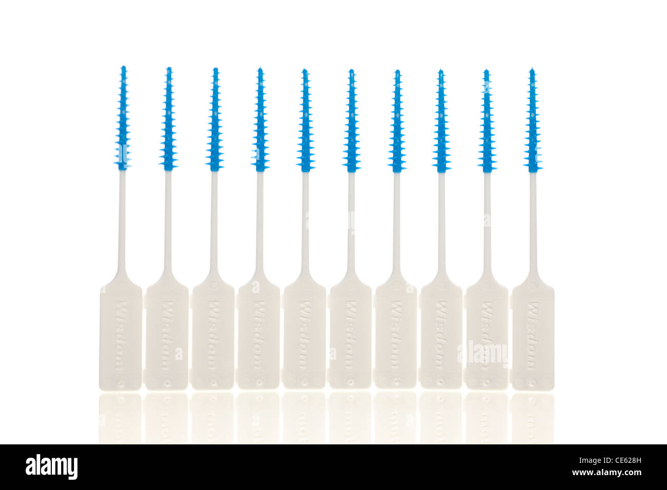 10 interdental tooth brushes - Stock Image