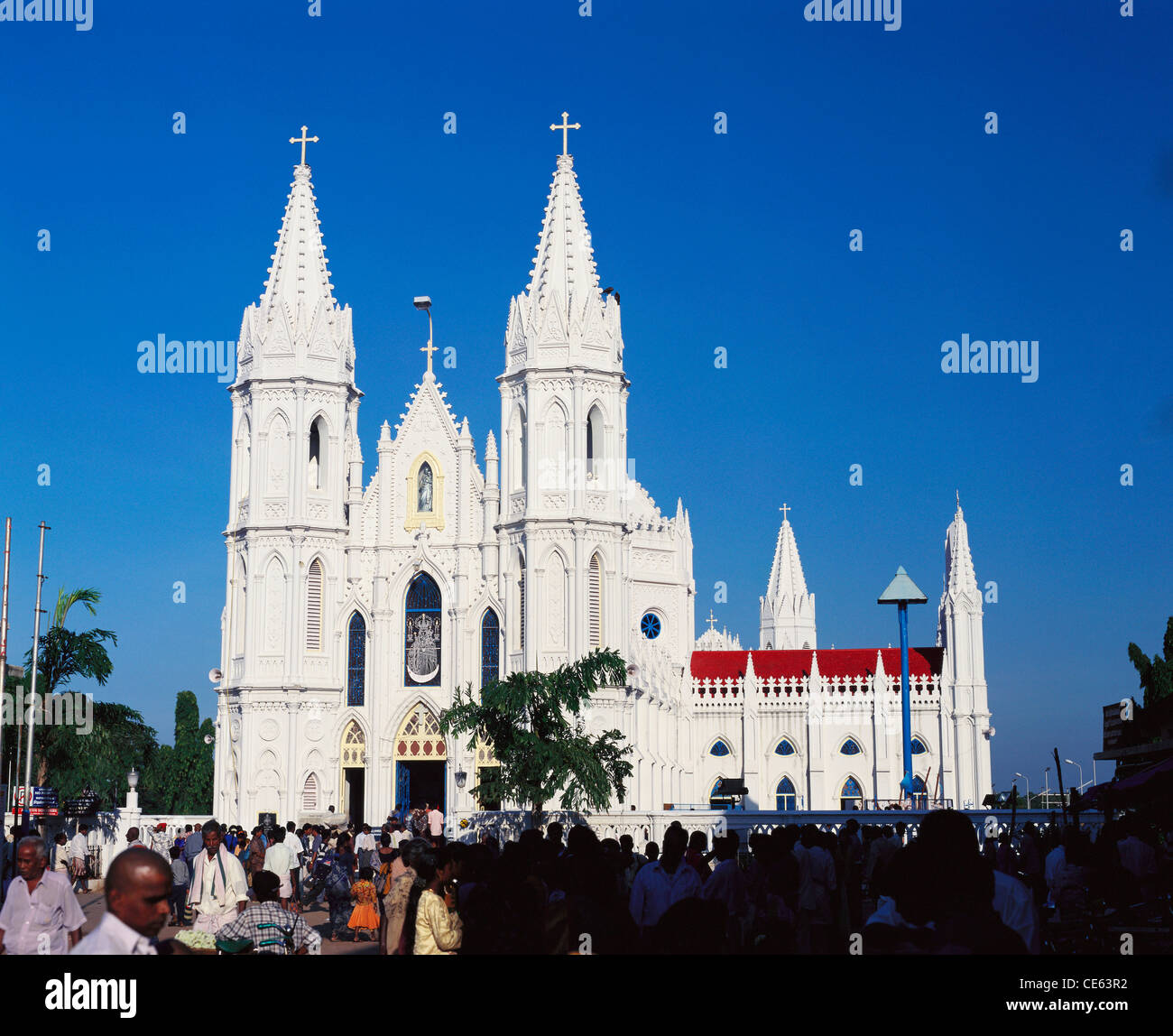 Basilica of Our Lady of Good Health ; Sanctuary of Our Lady of  Vailankanni ; Velankani Church ; Velankanni ; Tamil Nadu ; India ; Asia Stock Photo