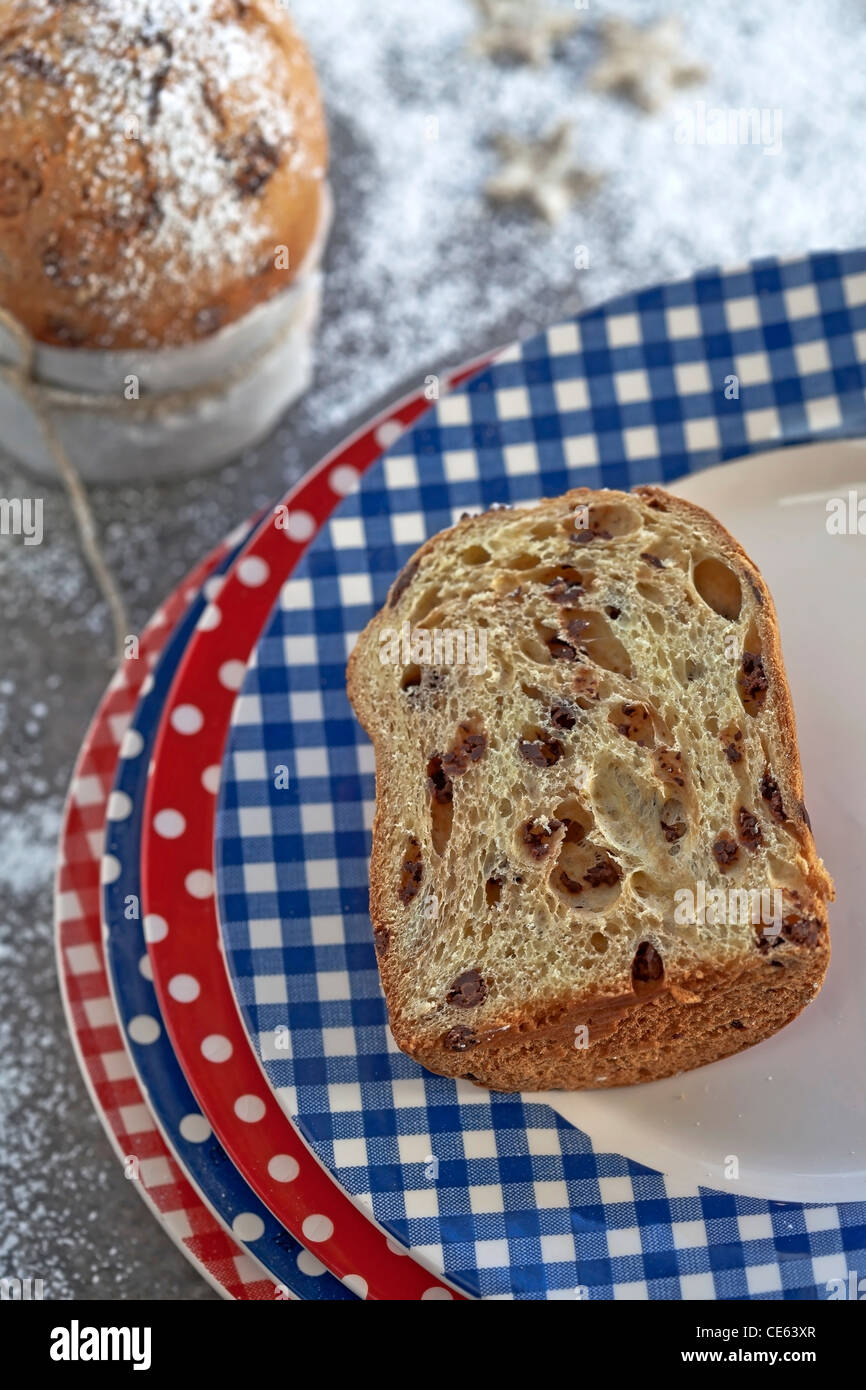 Panettone with chocolate - the typical Italian yeast cake for Christmas - Stock Image