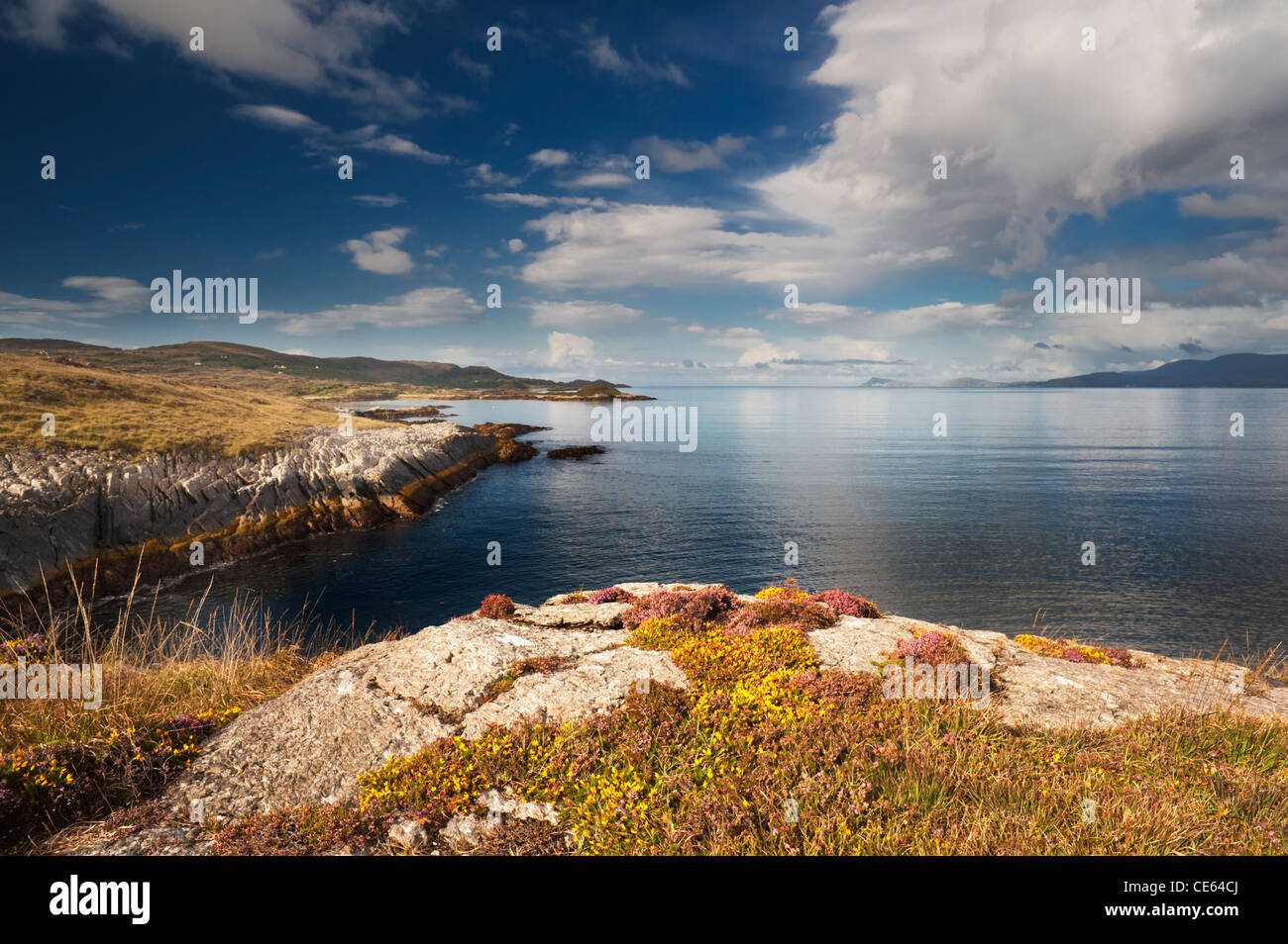 View westwards along Kenmare Bay towards the Atlantic Ocean, from Kilcatherine, Beara, County Cork, Ireland - Stock Image