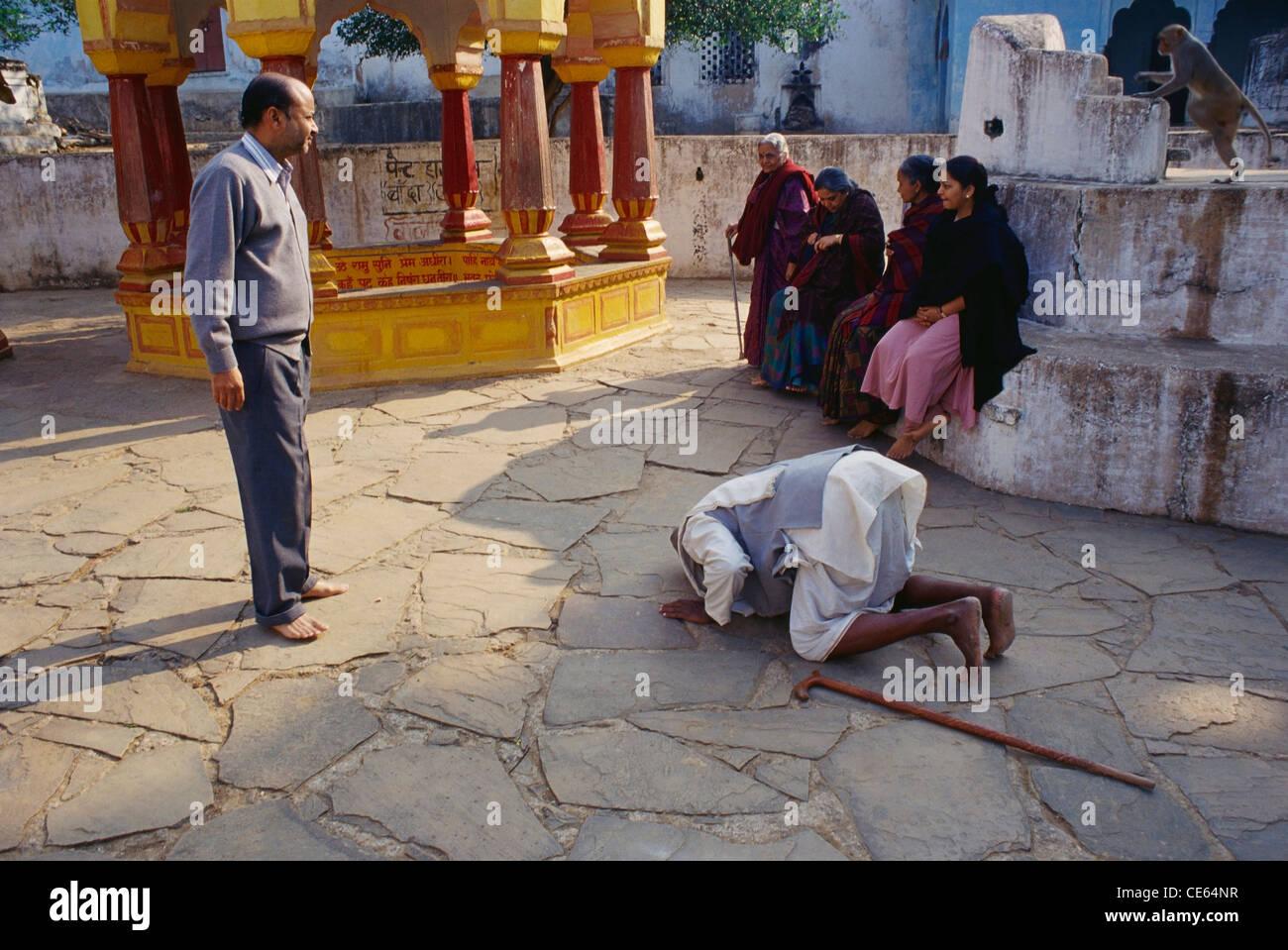 Indian family Lord Rama Chitrakoot greetings Uttar Pradesh India   Model Released - Stock Image