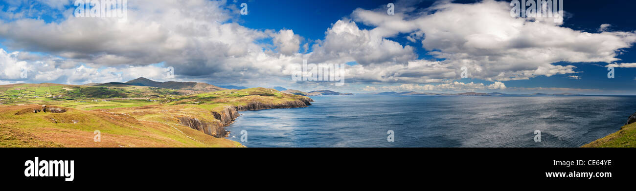 Panoramic view south from Black Ball Head, Beara Peninsula, County Cork, Ireland, towards Bere Island, Sheep's - Stock Image
