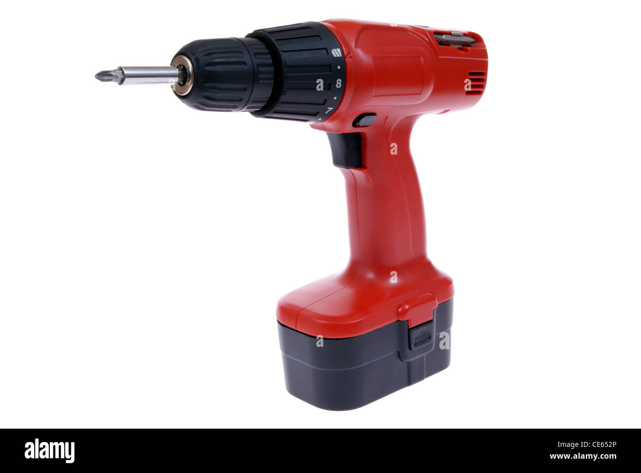 red power drill on white background - Stock Image
