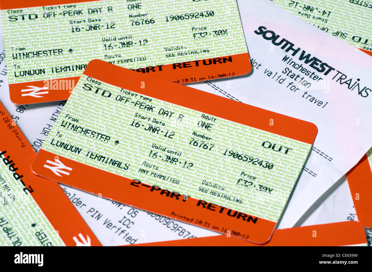 Train tickets and credit card receipt - Stock Image