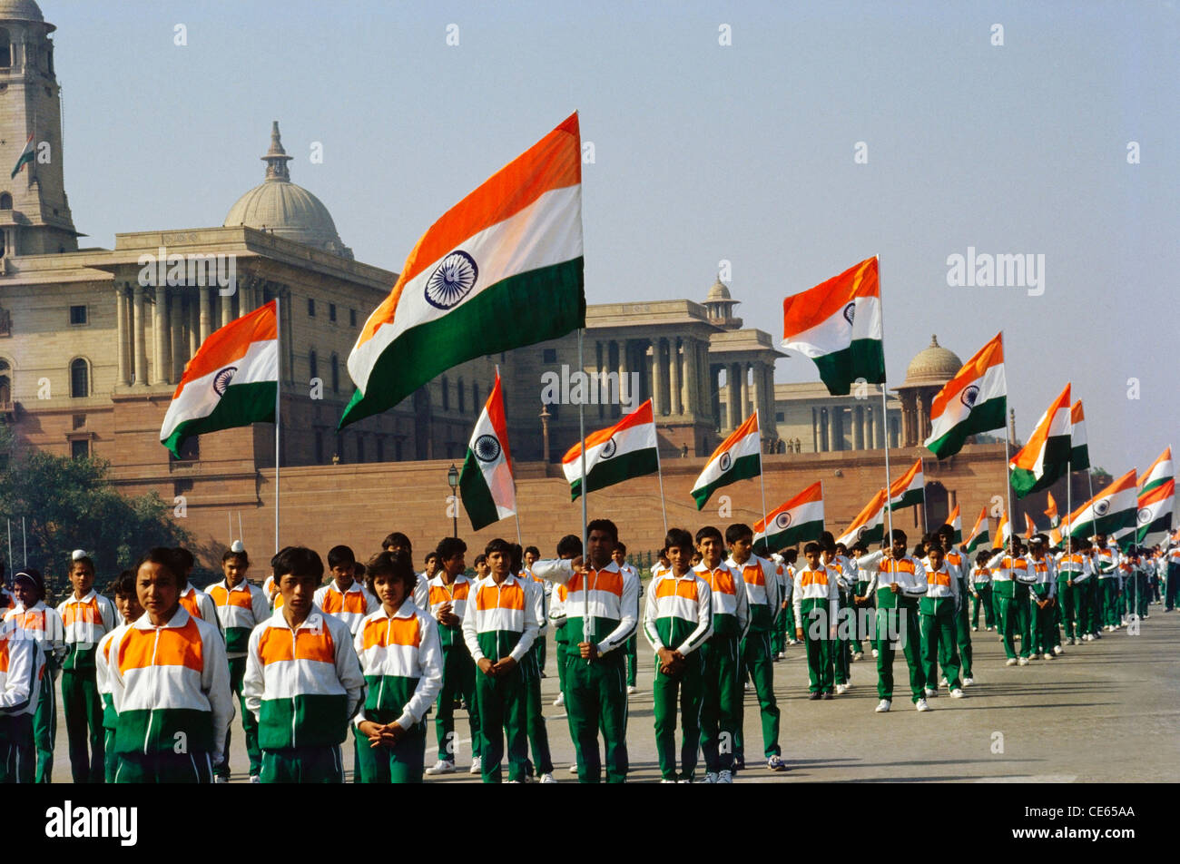 Flag Festival India: Children Parade Holding Indian Flags On Republic Day