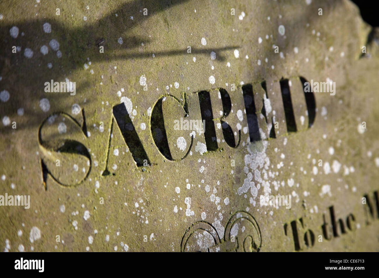 The word 'Sacred' on a gravestone - Stock Image