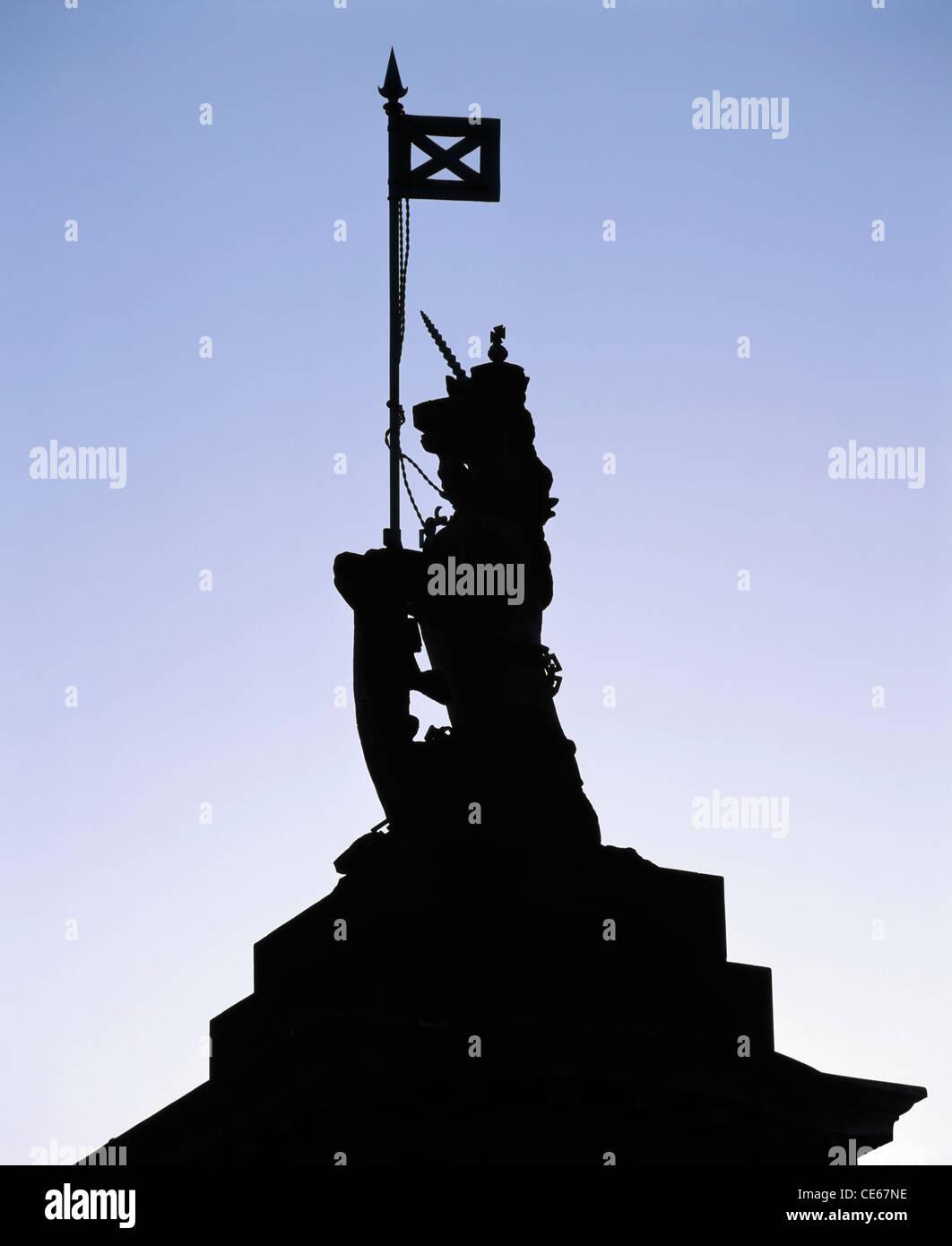 Unicorn and St Andrews cross on a Holyrood Palace Gatepost, Edinburgh, Scotland, UK - Stock Image