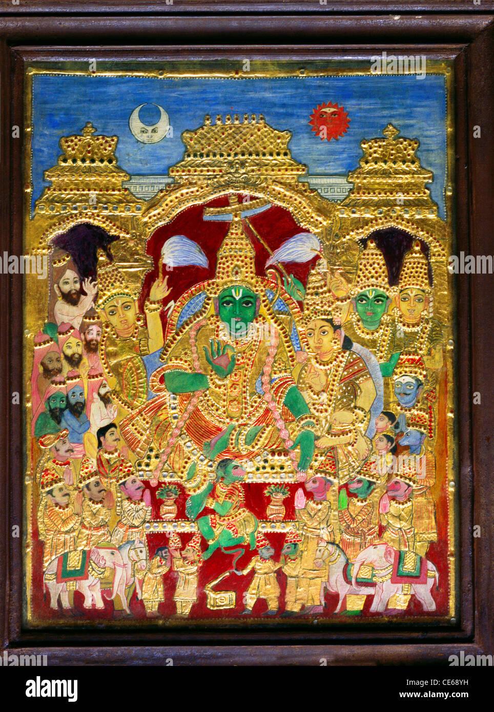 100 years old Thanjavur painting Sri Rama with Sita - Stock Image