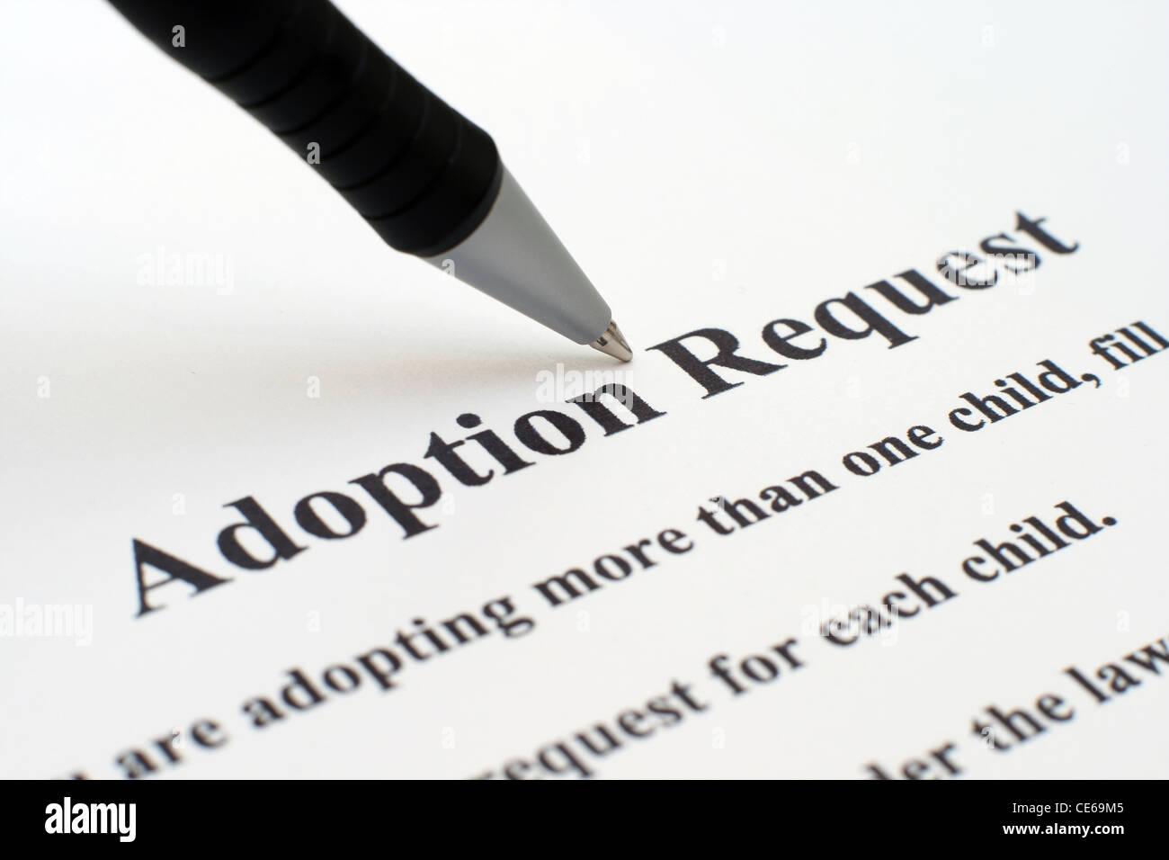 Adoption Form Stock Image
