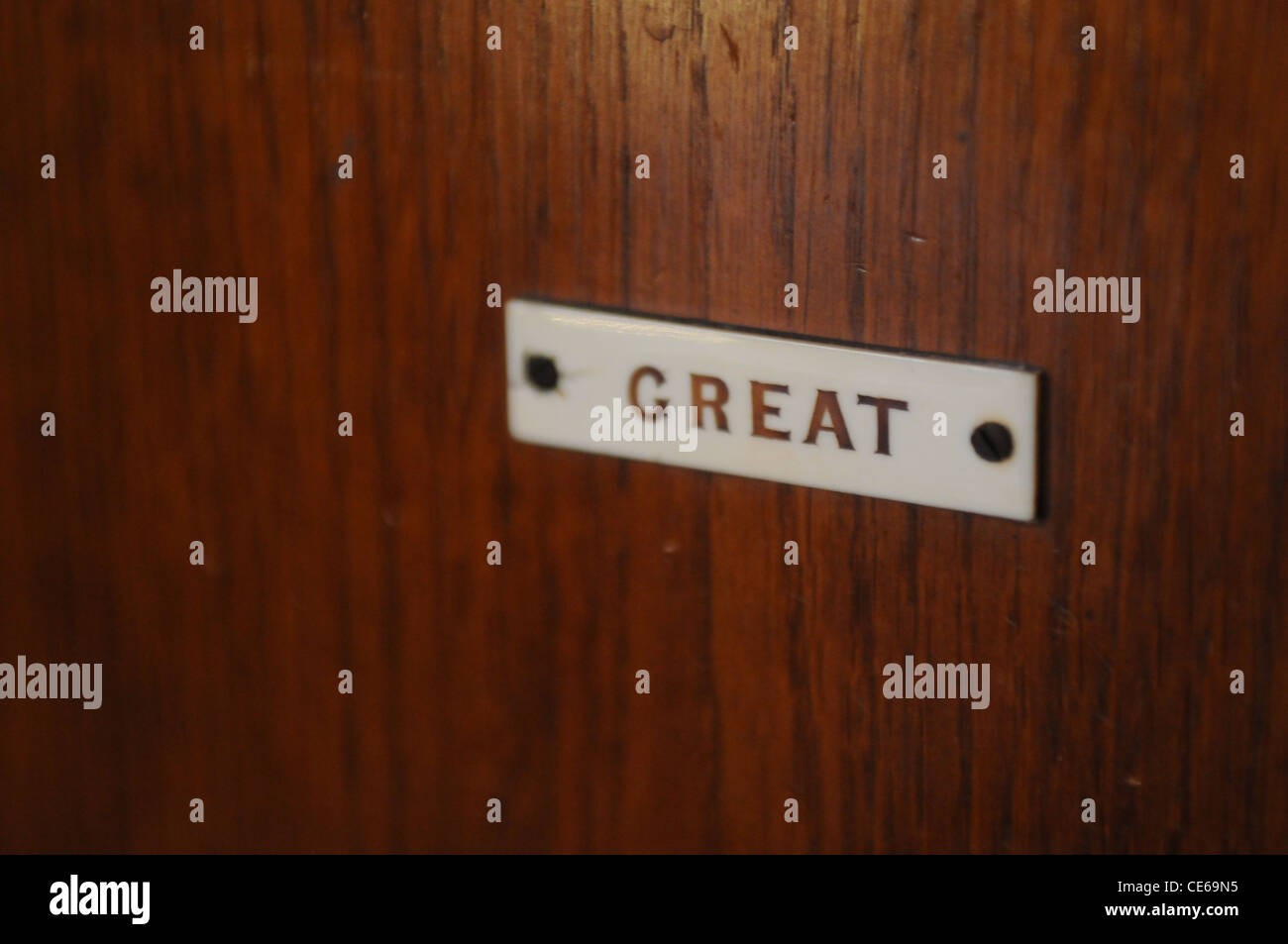Label on a church Organ - Stock Image