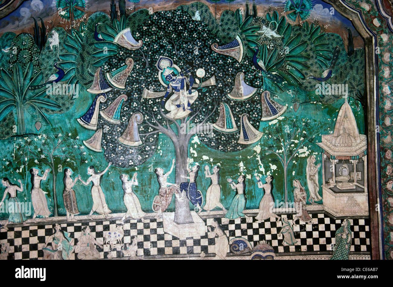 Krishna on tree and Gopis wall painting Bundi Rajasthan India - Stock Image