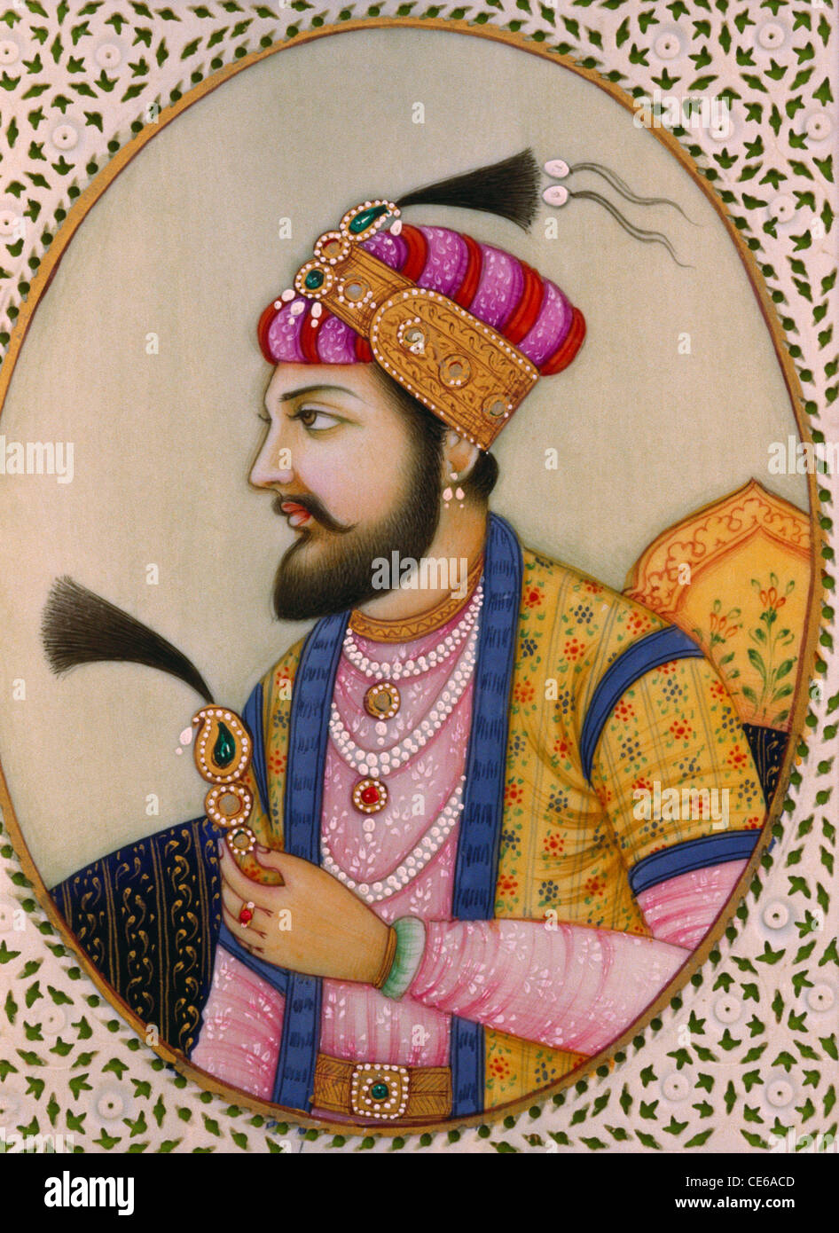 Mughal emperor Shah Jahan miniature painting on ivory Stock Photo