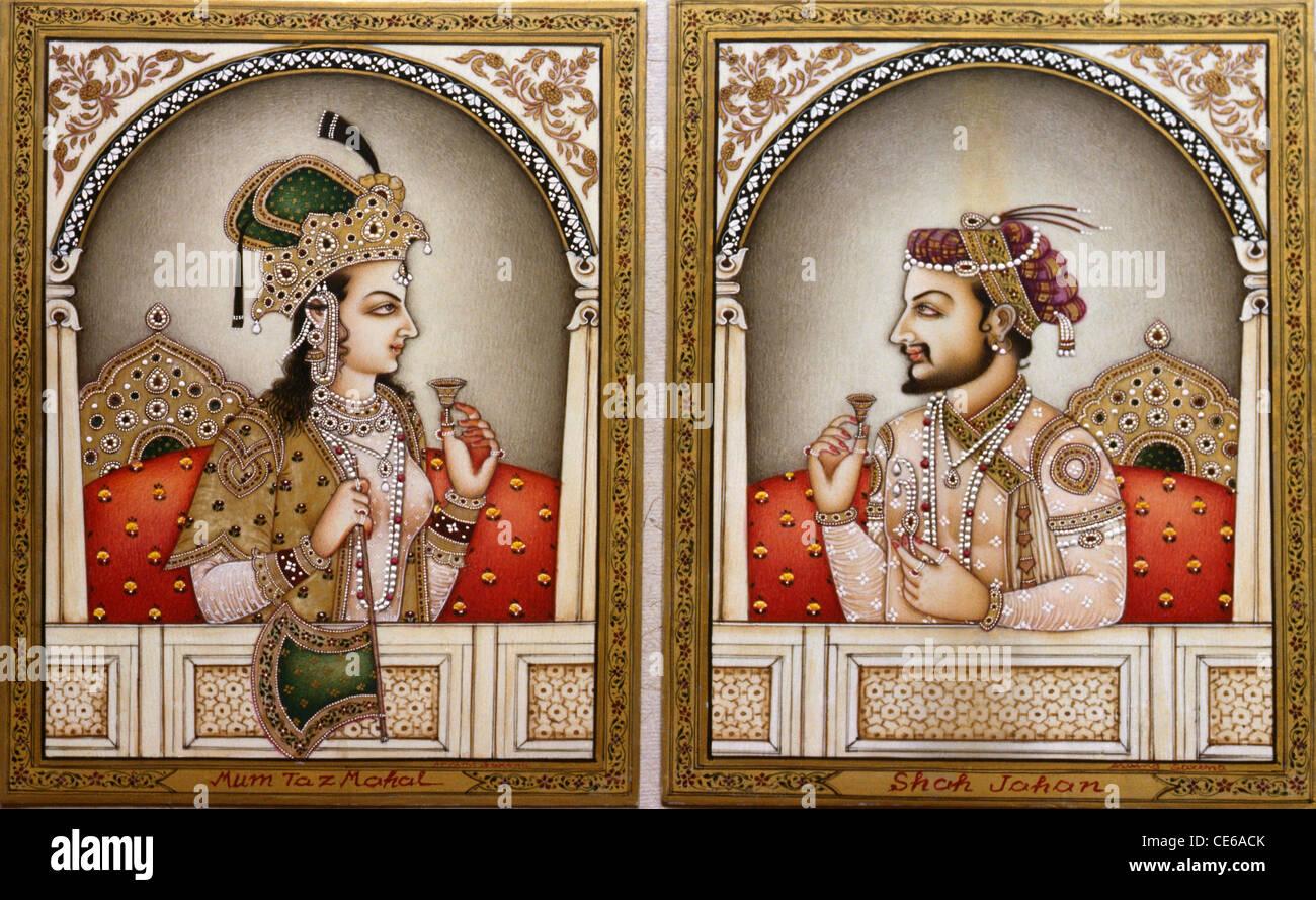 Mumtaz Mahal and Shah Jahan miniature painting Stock Photo