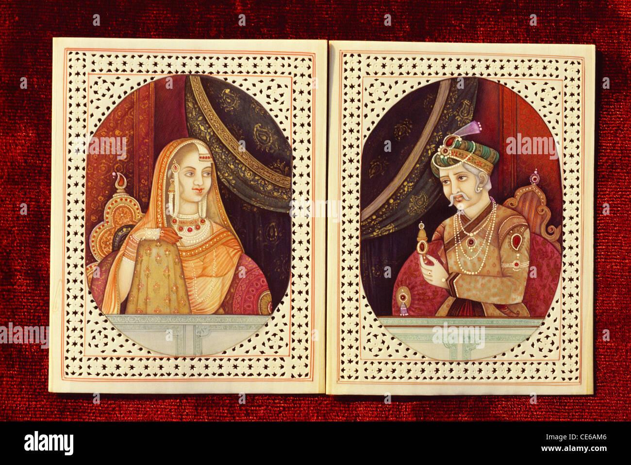 Mughal emperor Akbar & Jodhabai ivory painting - bdr 68672 - Stock Image