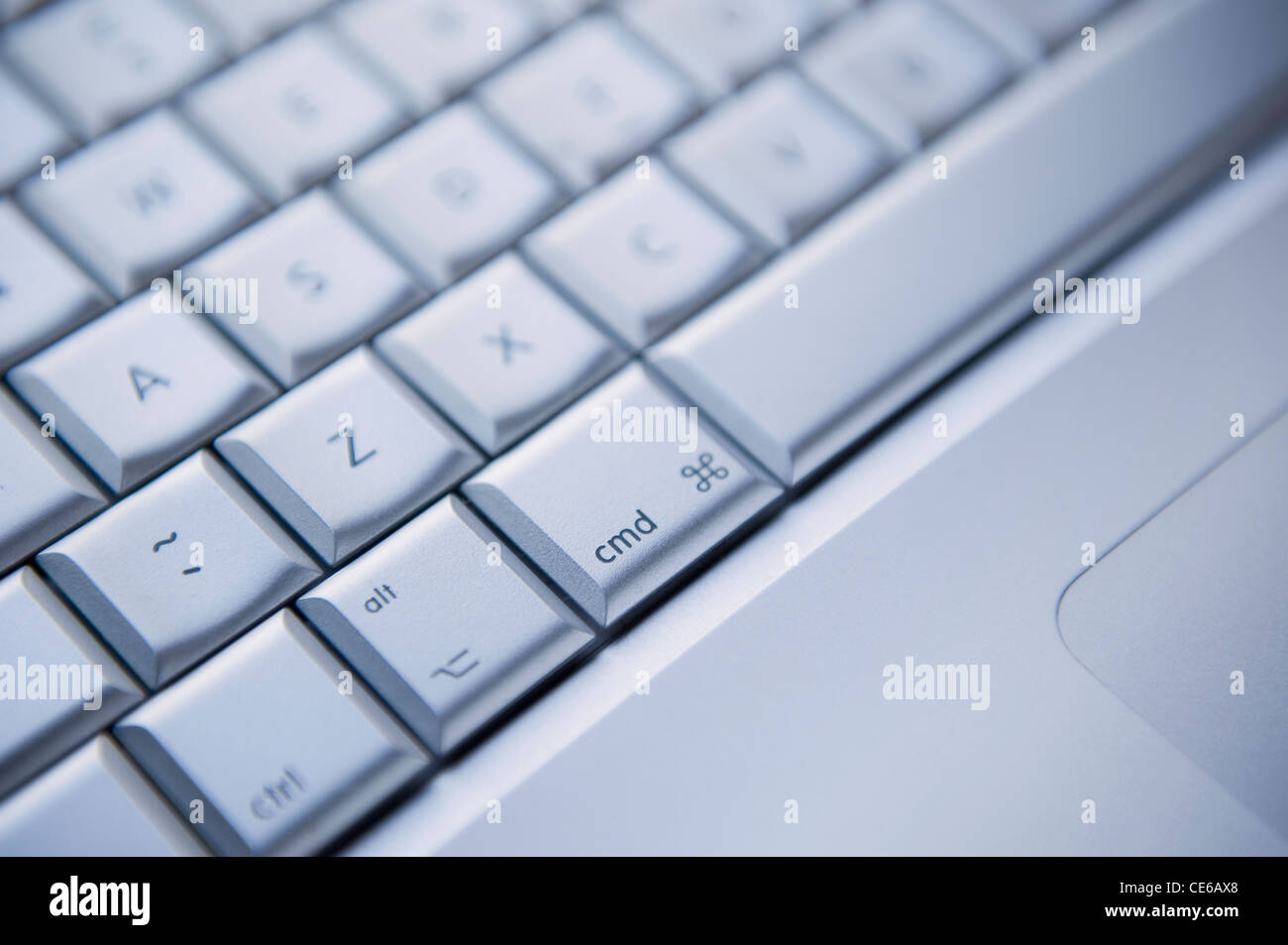 Close up of an Apple Mac Pro Keyboard, focusing on the Command Key