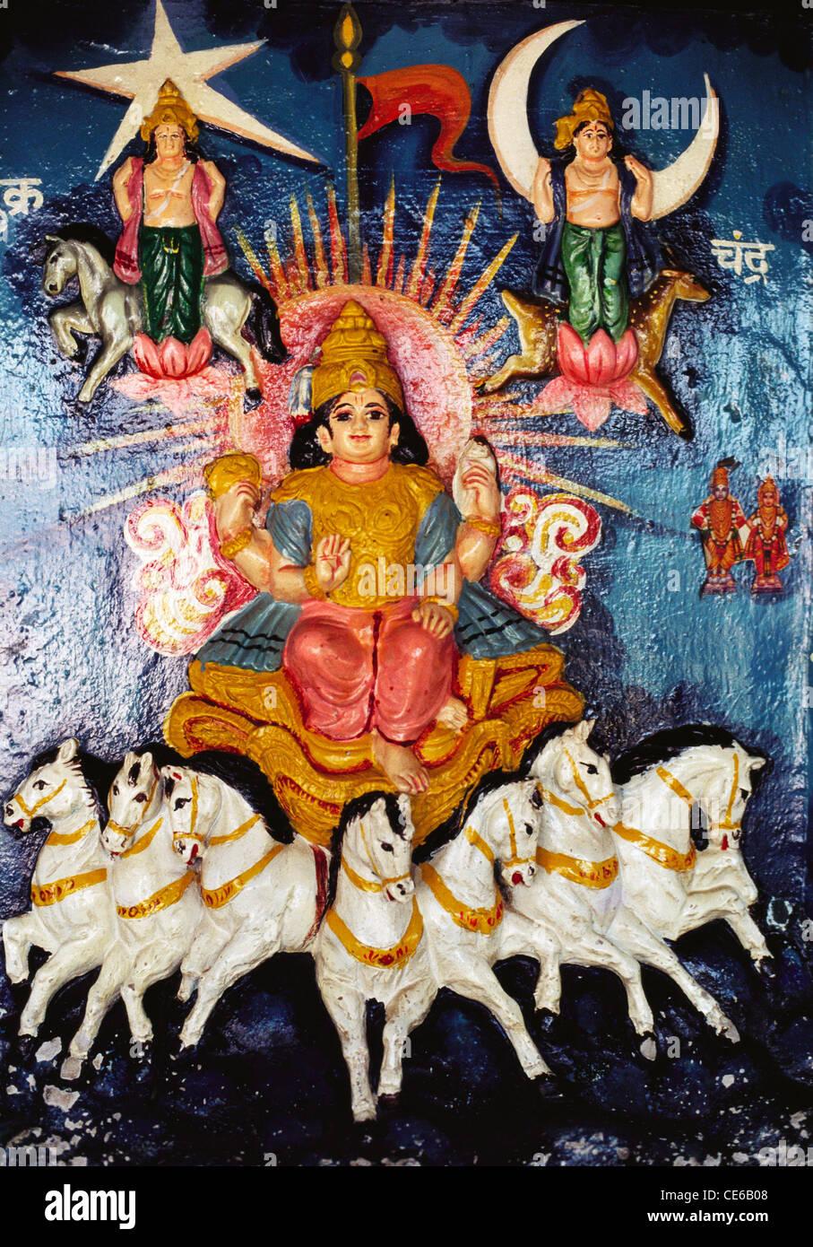 Statue of Lord Krishna riding on horse chariot rath Mahabharat ; Pandhapur ; Maharashtra ; India - Stock Image