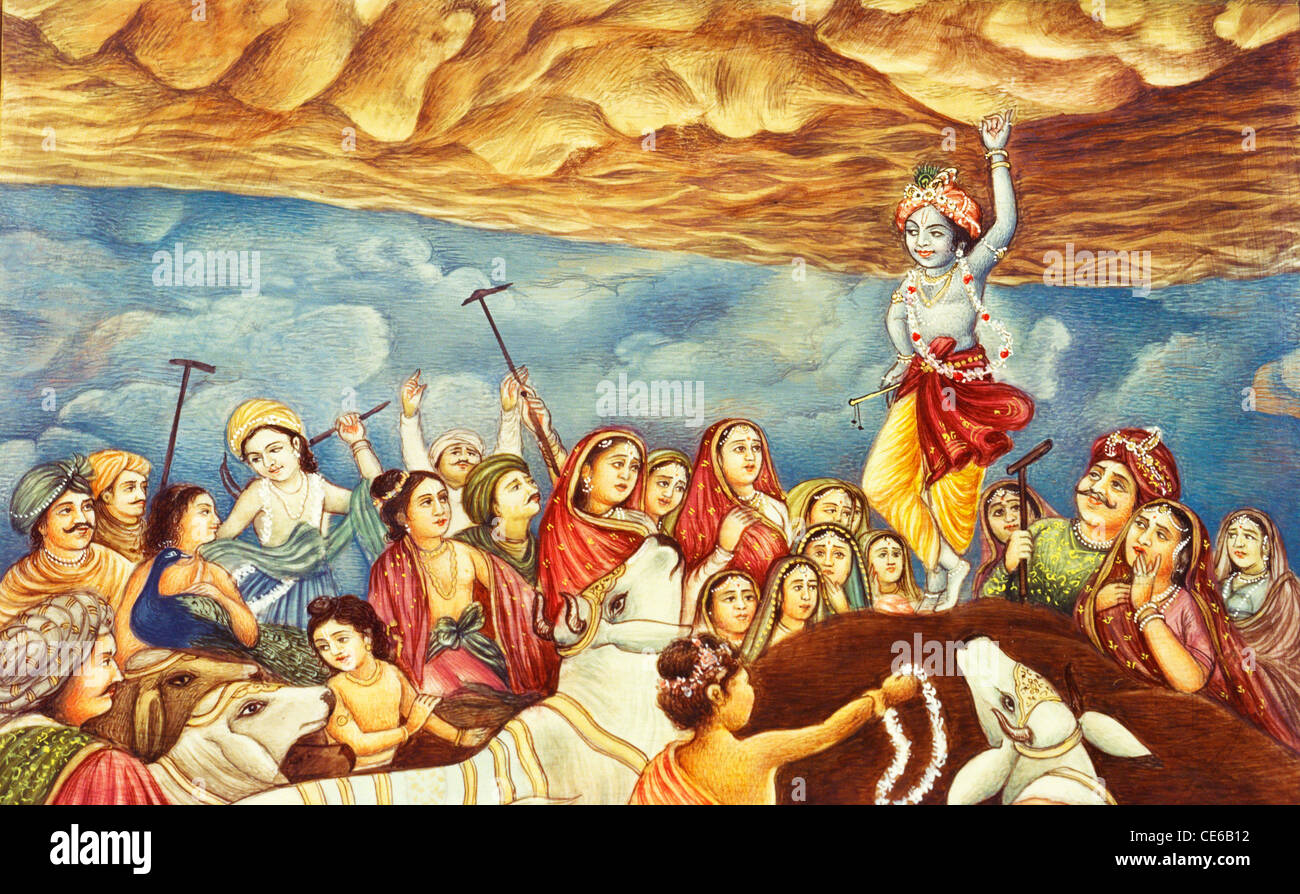 Lord Krishna Lifting Govardhan Parvat Mountain With Little One Finger Vrindavan Mathura Uttar Pradesh India