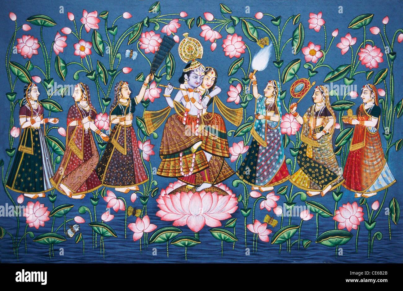 Radha Krishna Ras Leela Dancing On Lotus Flower With Sakhis