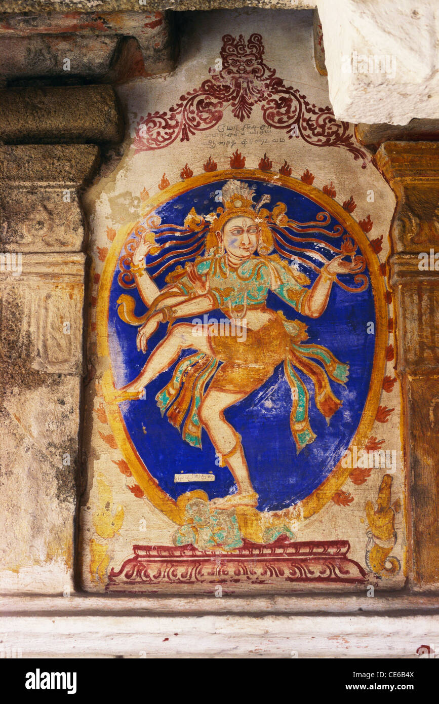 Lord Siva performing ananda tandav 16th century wall painting in Vedapureeswarar temple at Tamil Nadu ; India - Stock Image