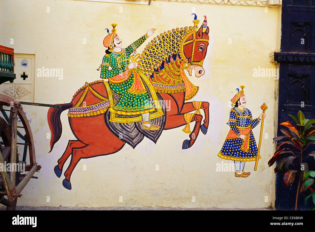 Wall Painting Rajput Man On Horse In Bagore Ki Haveli Museum Stock