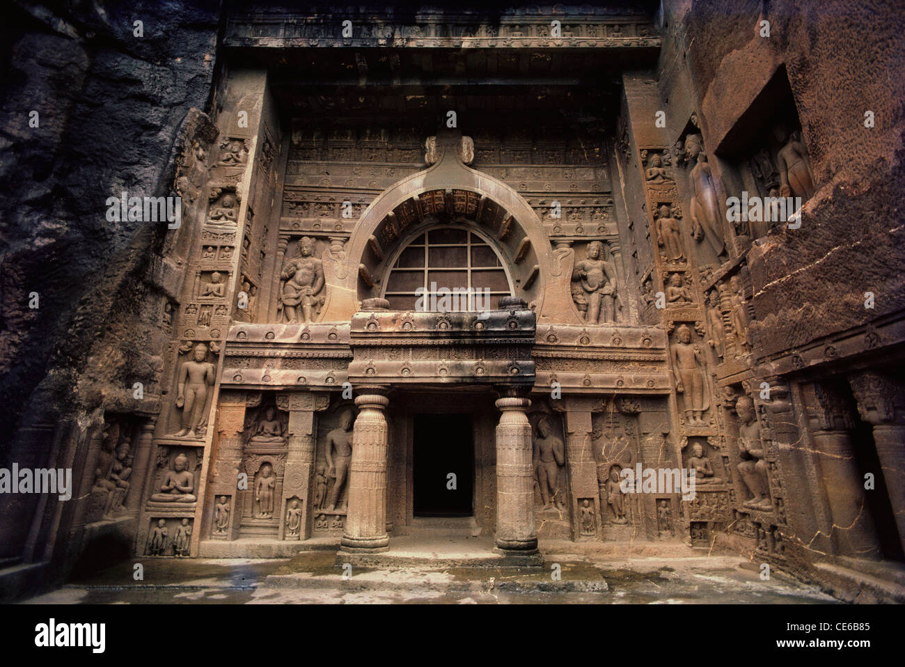 Ajanta Buddhist Rock Cut Cave Entrance Door Gate ; Aurangabad ; Maharashtra  ; India   Stock
