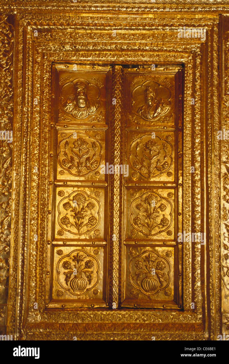 Gold Plated Embossed Door At Sachkhand Sahib Gurudwara ; Nanded ;  Maharashtra ; India