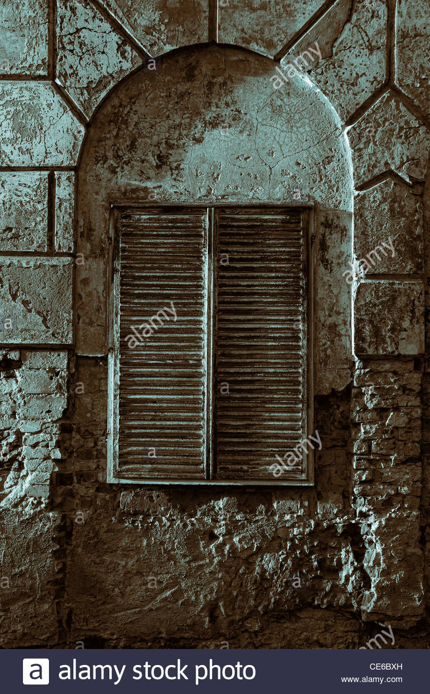 Vintage Shuttered Window - Stock Image