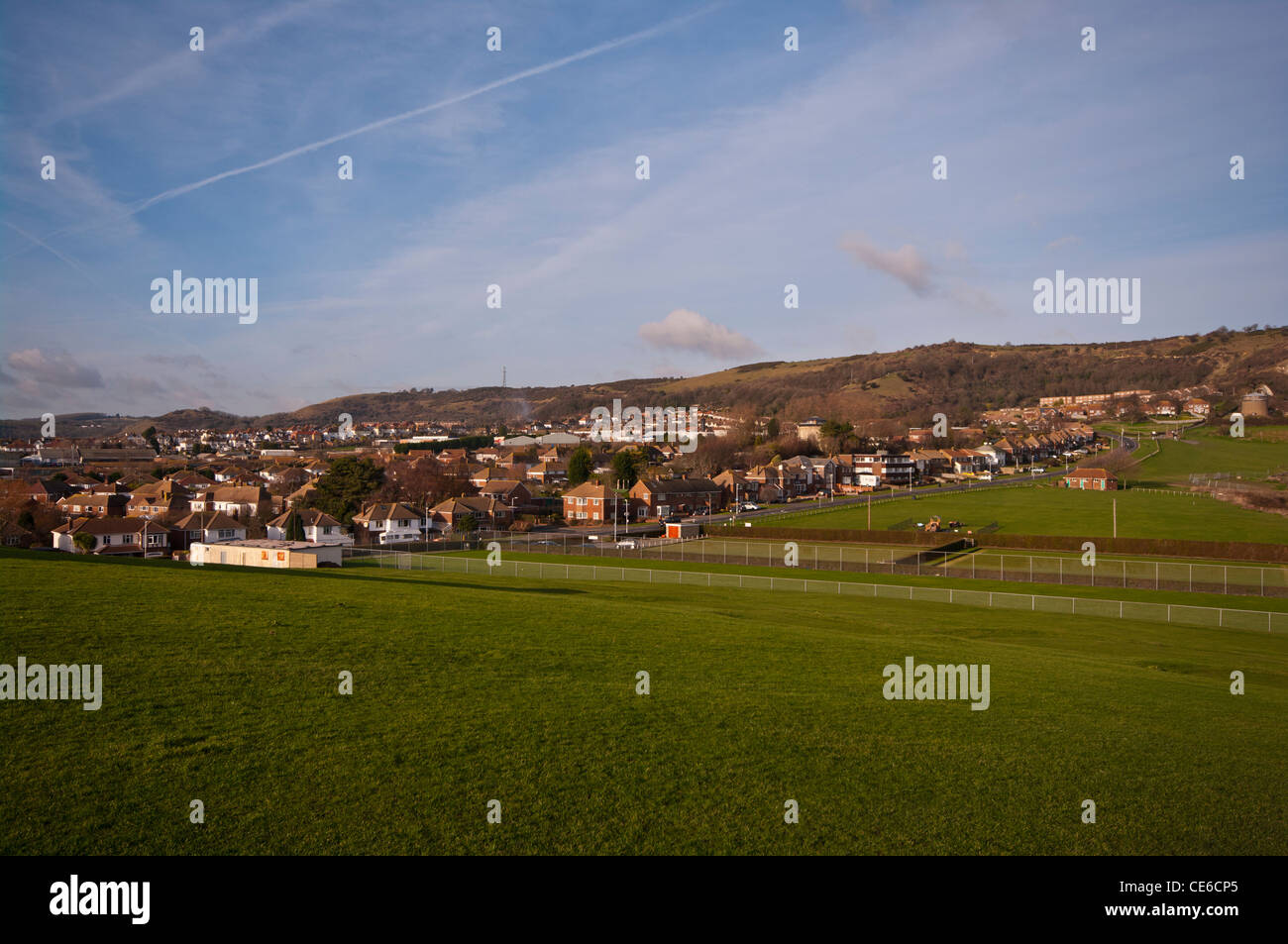 The Coastal Town Of Folkestone Kent UK as seen from the Warren Country Park - Stock Image