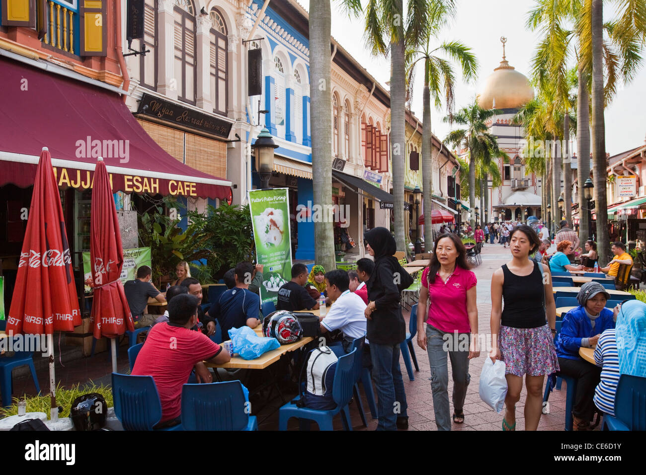 View along Bussorah Mall in the Muslim quarter of Kampong Glam, Singapore - Stock Image