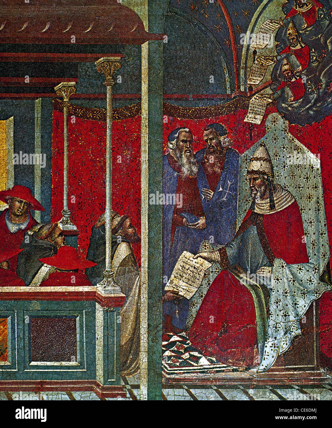 Pope Honorius III approving the Carmelite Rule. 1226. Predela panel by Pietro Lorenzetti. Art Gallery of Siena. - Stock Image