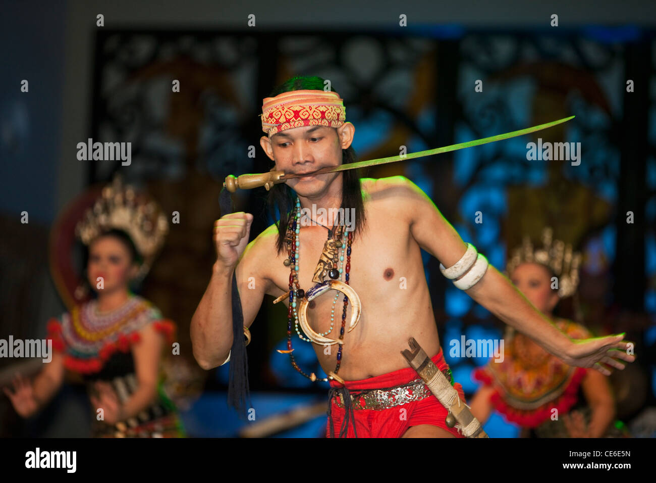 Dayak dance performance at the Sarawak Cultural Village, Damai Beach. Kuching, Sarawak, Borneo, Malaysia - Stock Image