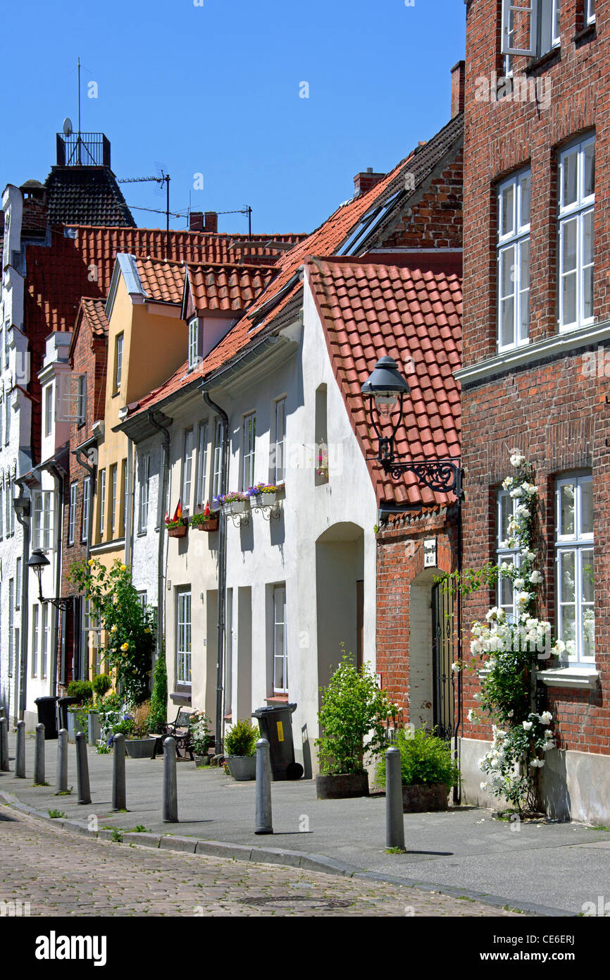 An der Mauer, typical street, Hanseatic City of Lübeck / Luebeck, Germany - Stock Image