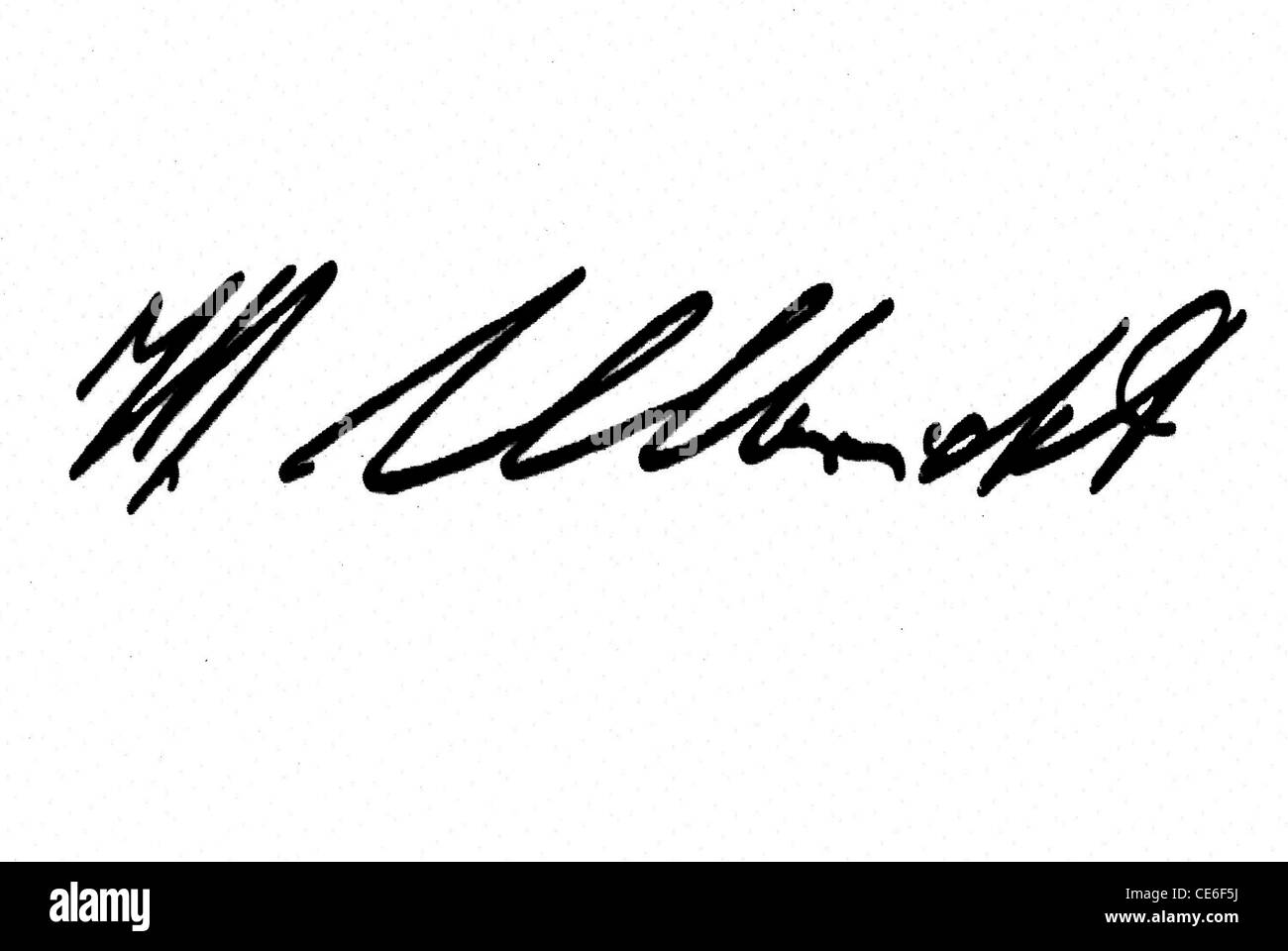 Signature of Walter Ulbricht: Party leader of the SED 1953 to 1971 and Chairman of the Council of state of the GDR - Stock Image