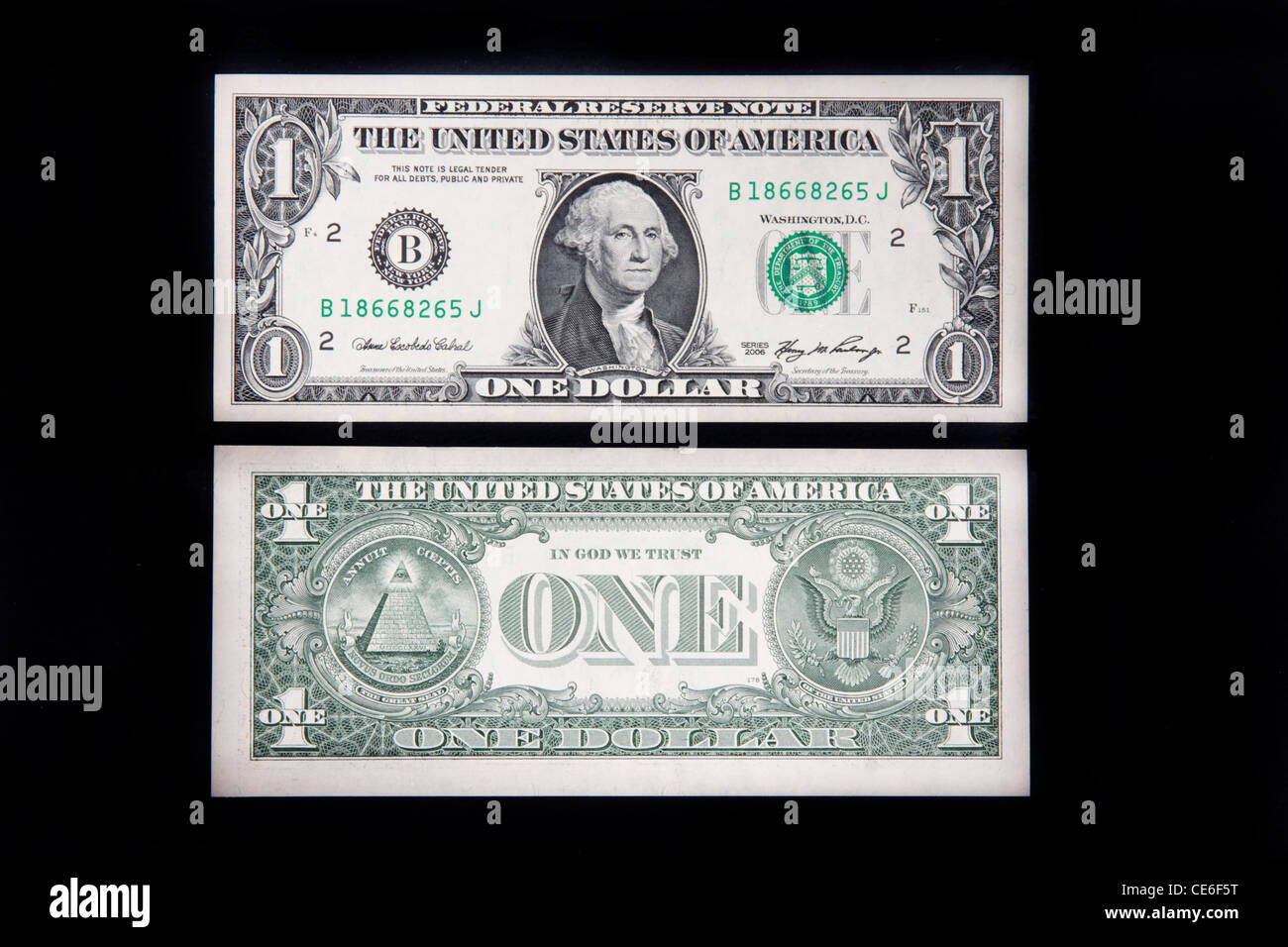 The Front And Back Of A Us One Dollar Bill Stock Image