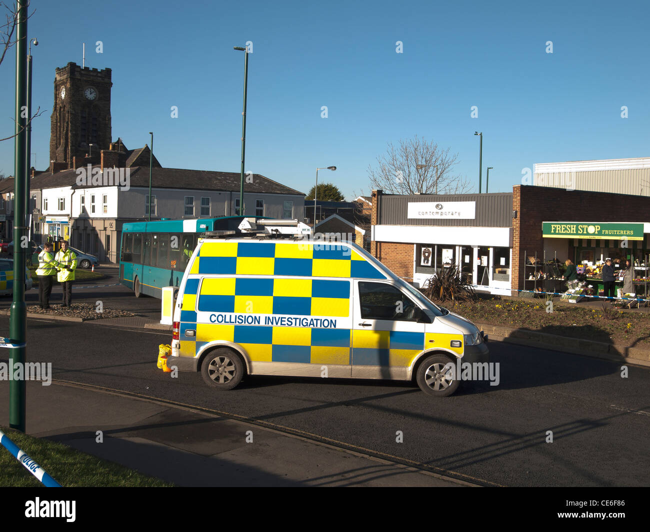 Police Collision Investigation van at the scene of a road traffic ...
