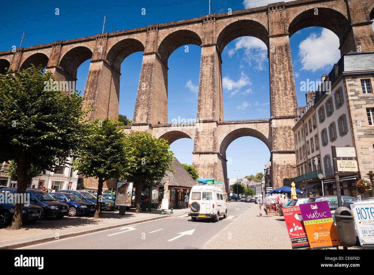 The viaduct at Morlaix, Finistere, Brittany, France. - Stock Image