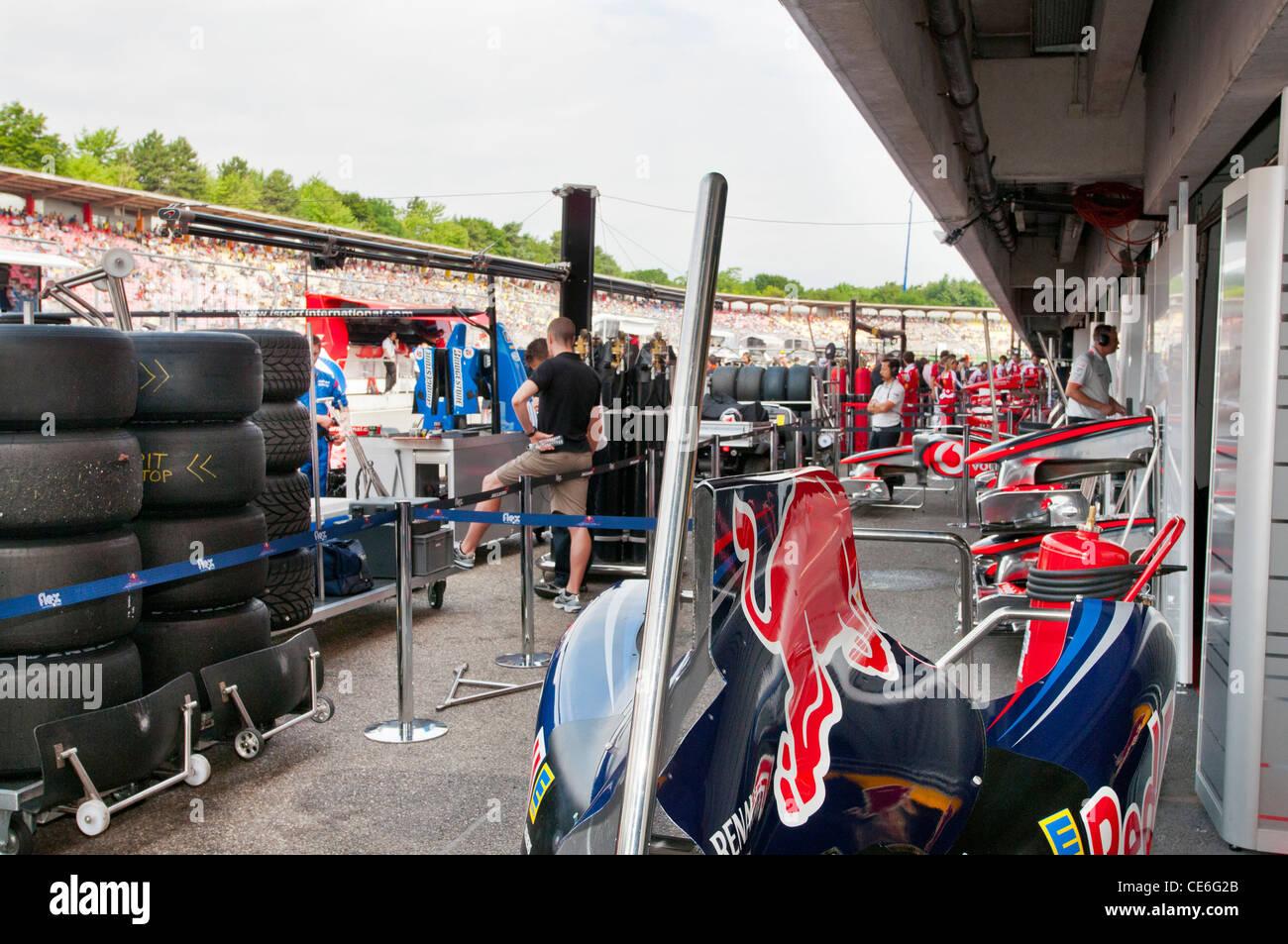 red bull,pit lane,Formula 1, Hockenheimring, Hockenheim, Germany, Europe - Stock Image